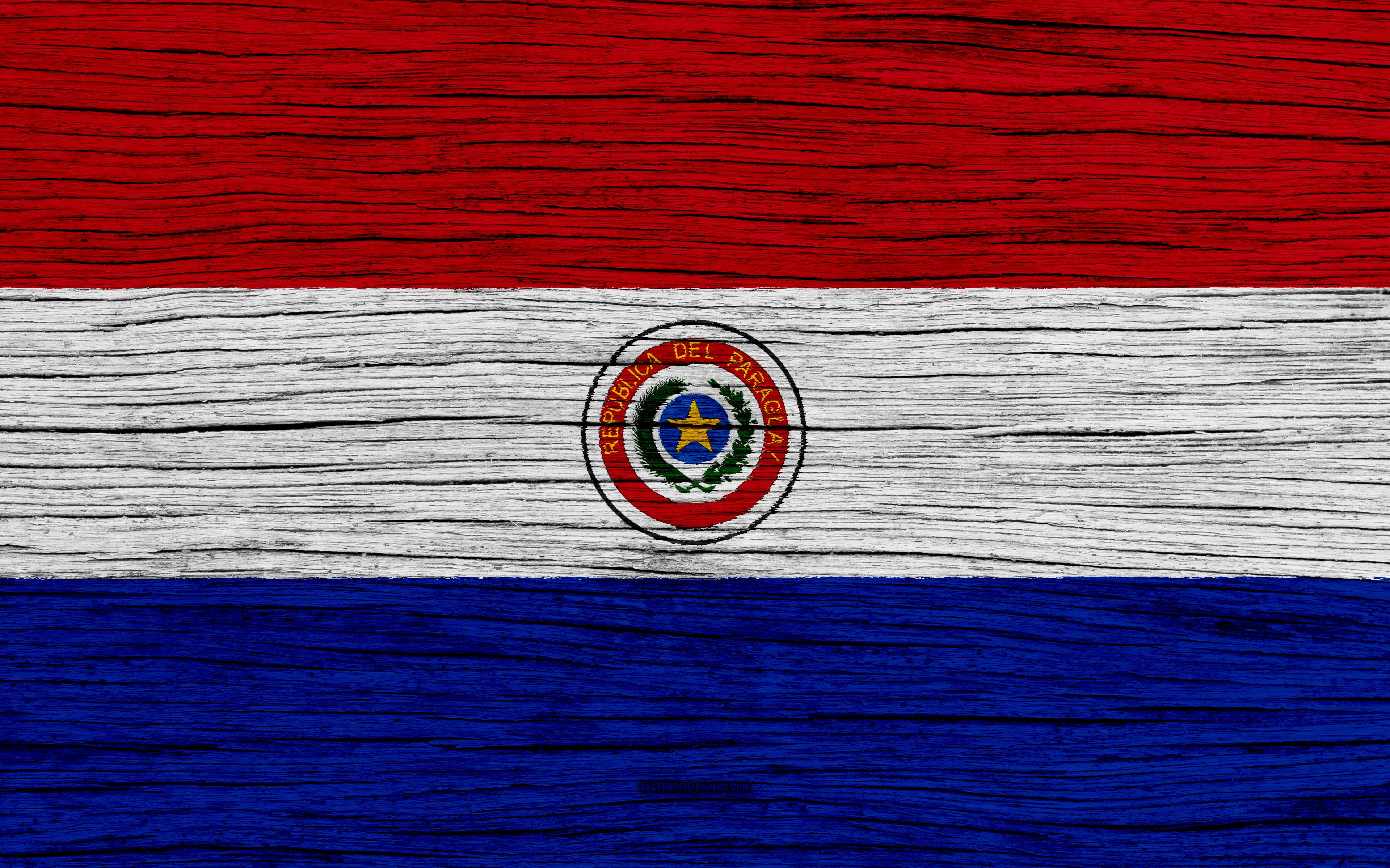 Download wallpapers Flag of Paraguay, 4k, South America, wooden ...