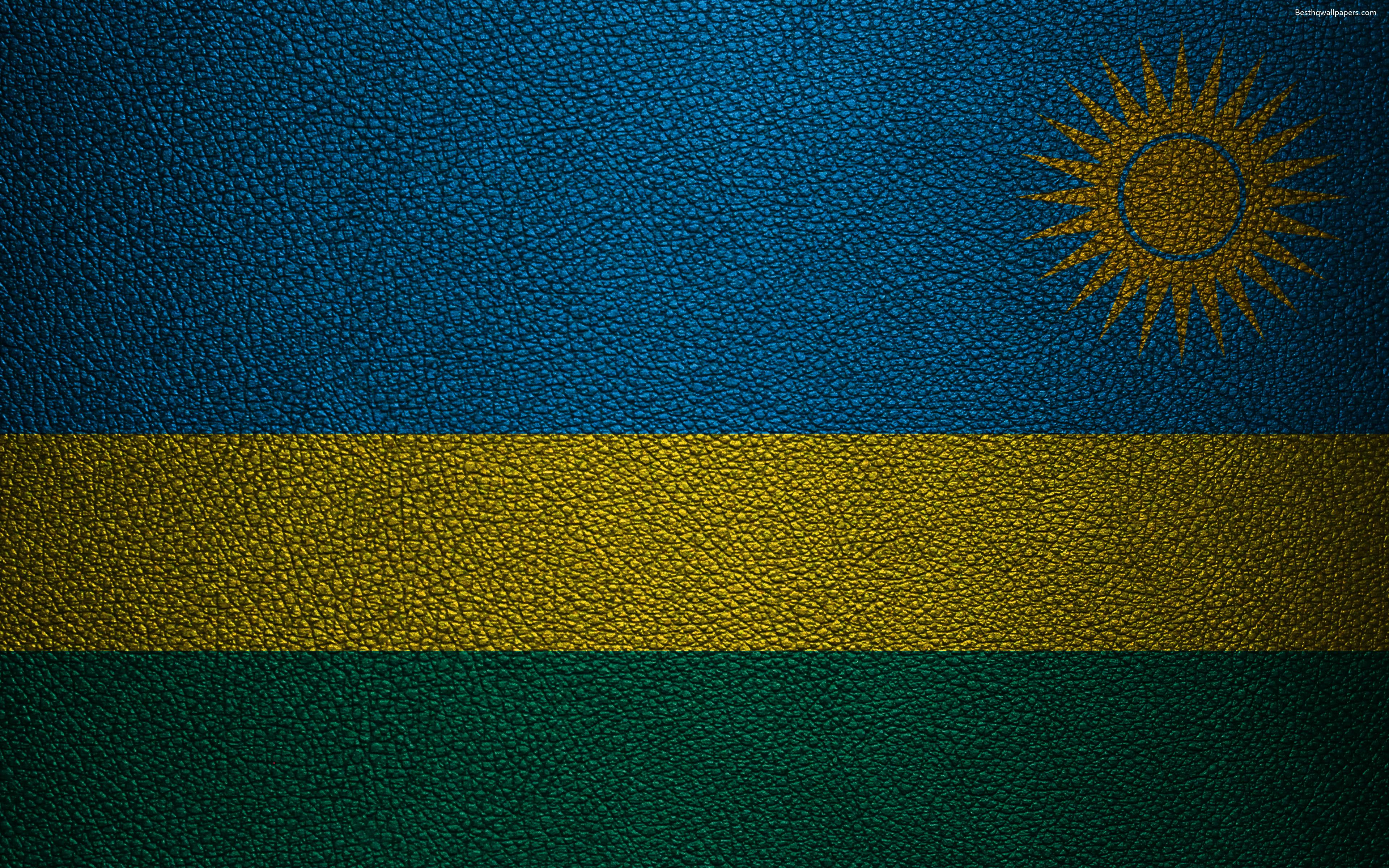 Download wallpapers Flag of Rwanda, Africa, 4K, leather texture