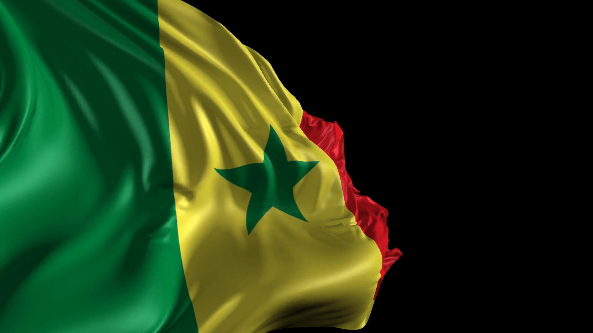 Flag of Senegal- Beautiful 3d animation of Senegal flag with alpha ...