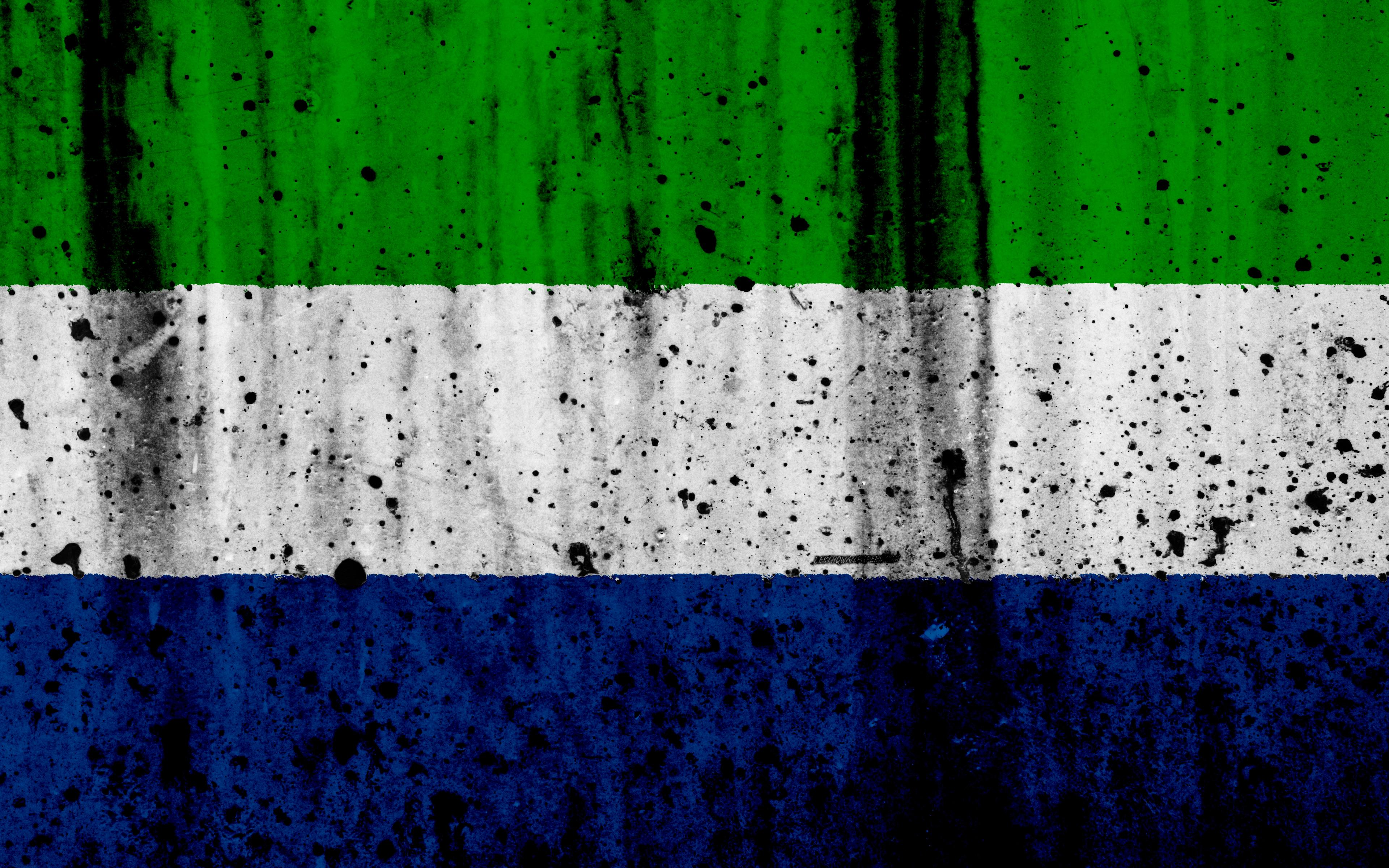 Download wallpapers Sierra Leone flag, 4k, grunge, flag of Sierra ...