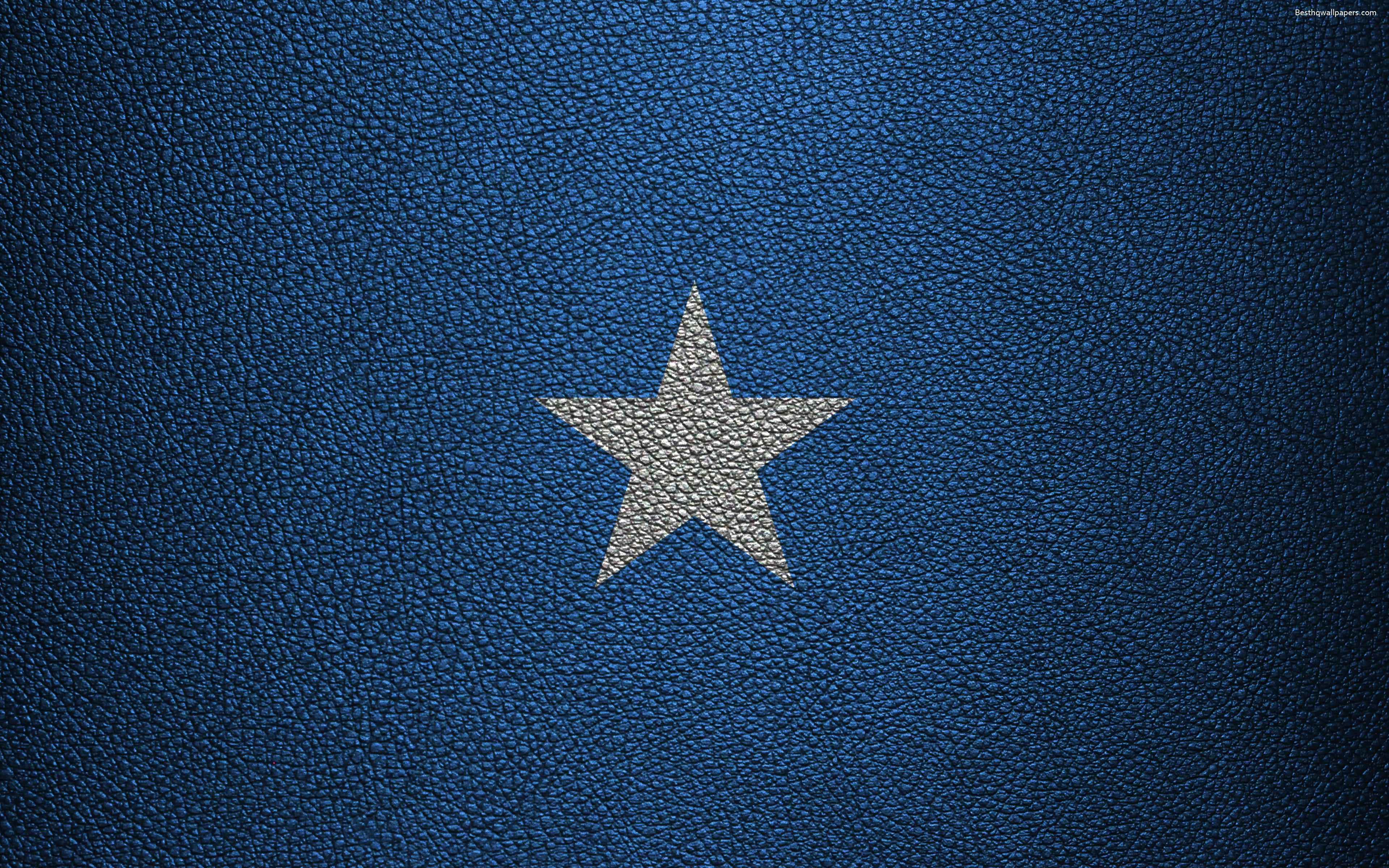 Download wallpapers Flag of Somalia, Africa, 4k, leather texture
