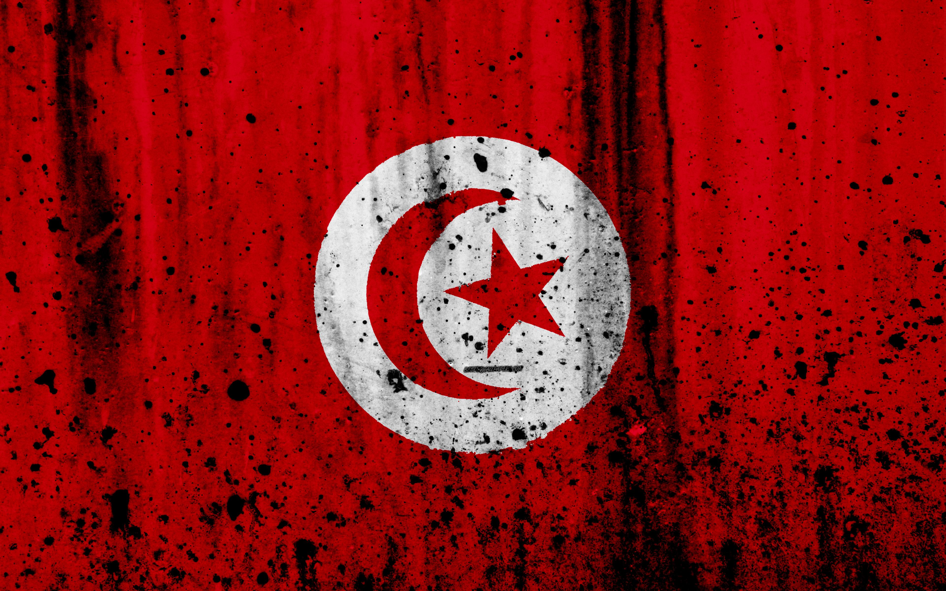 Download wallpapers Tunisian flag, 4k, grunge, flag of Tunisia