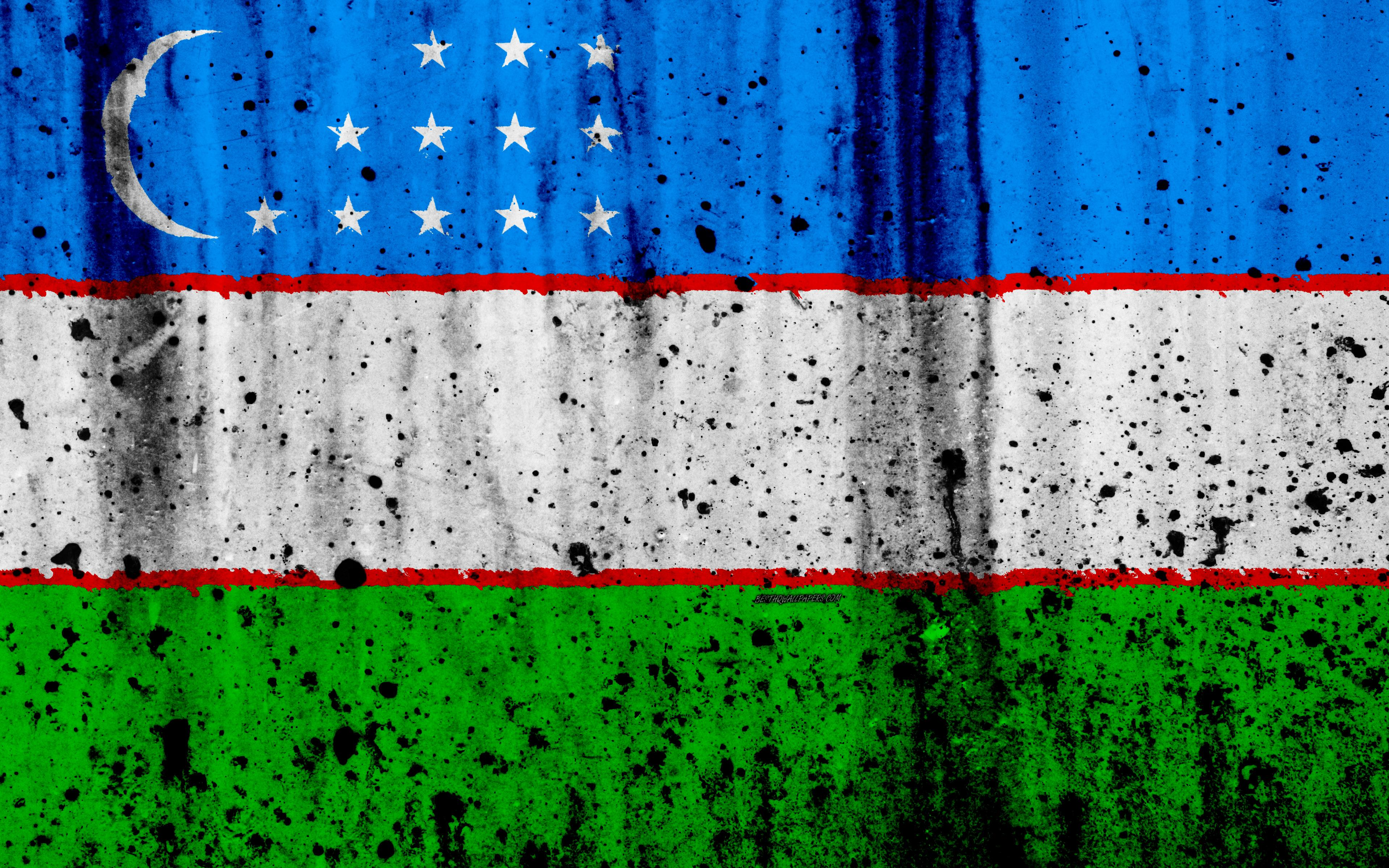 Download wallpapers Uzbek flag, 4k, grunge, flag of Uzbekistan, Asia
