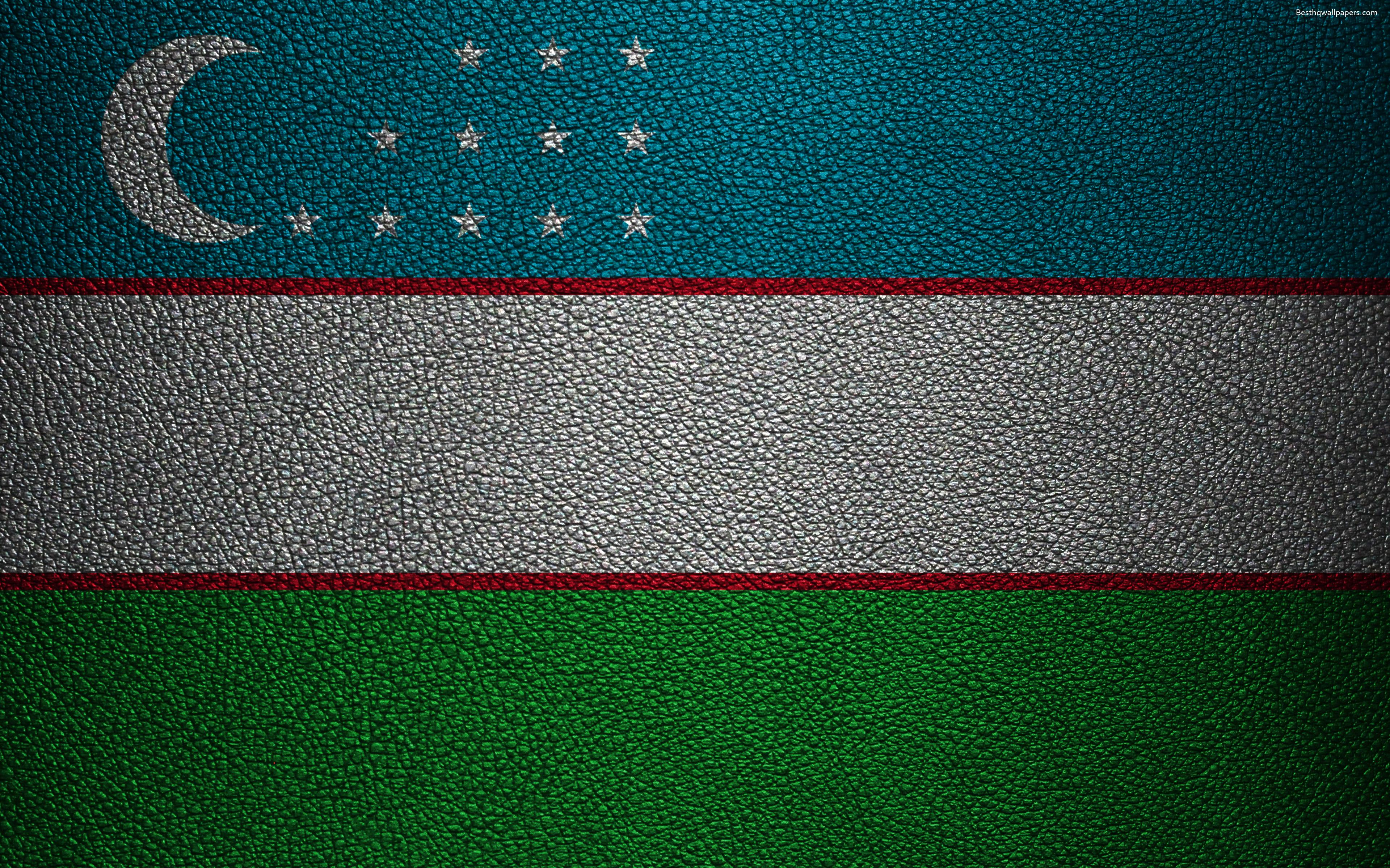 Download wallpapers Flag of Uzbekistan, 4k, leather texture, Uzbek