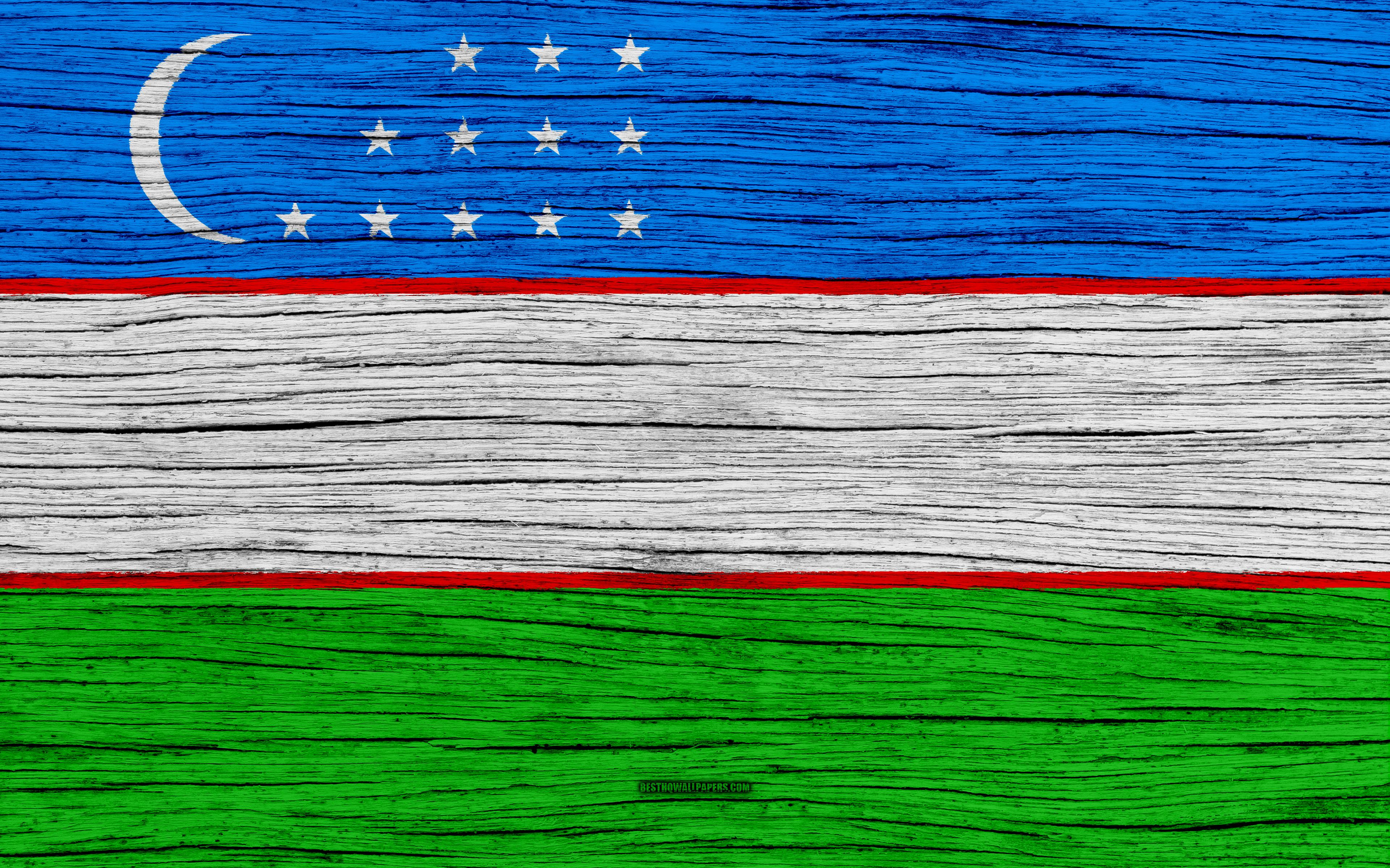 Download wallpapers Flag of Uzbekistan, 4k, Asia, wooden texture