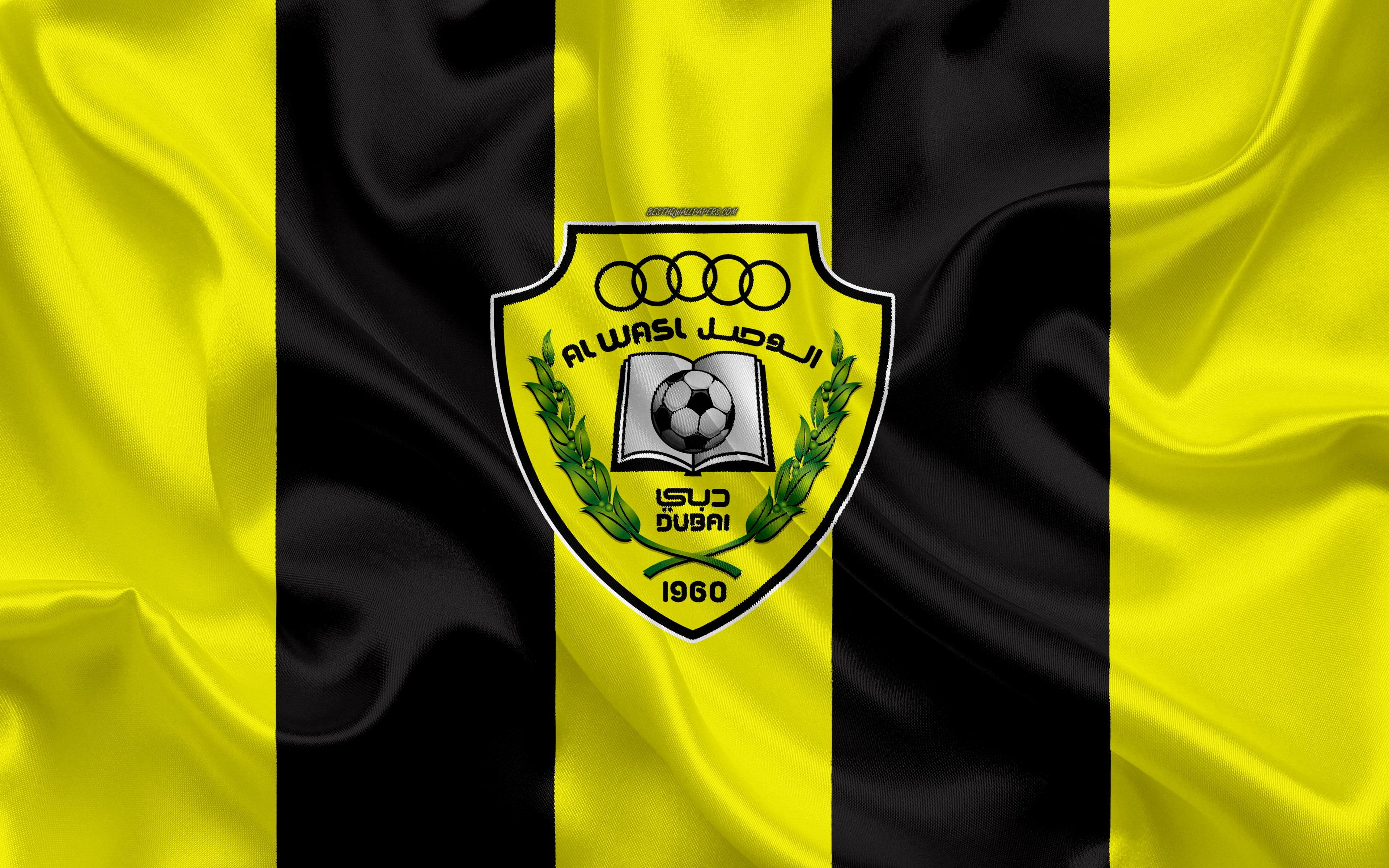 Download wallpapers Al Wasl FC, 4k, logo, yellow black silk flag ...