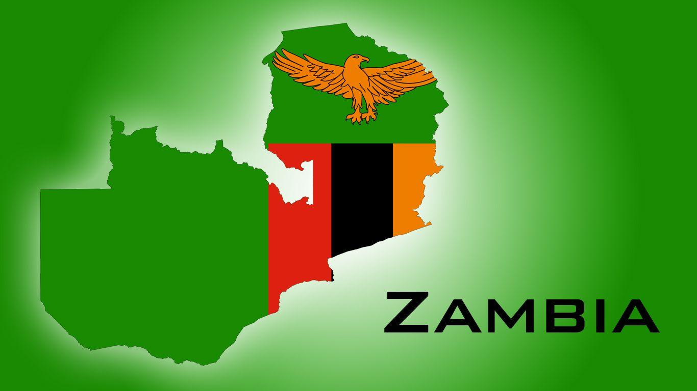 The Map of Zambia and the national colors and symbol of its flag