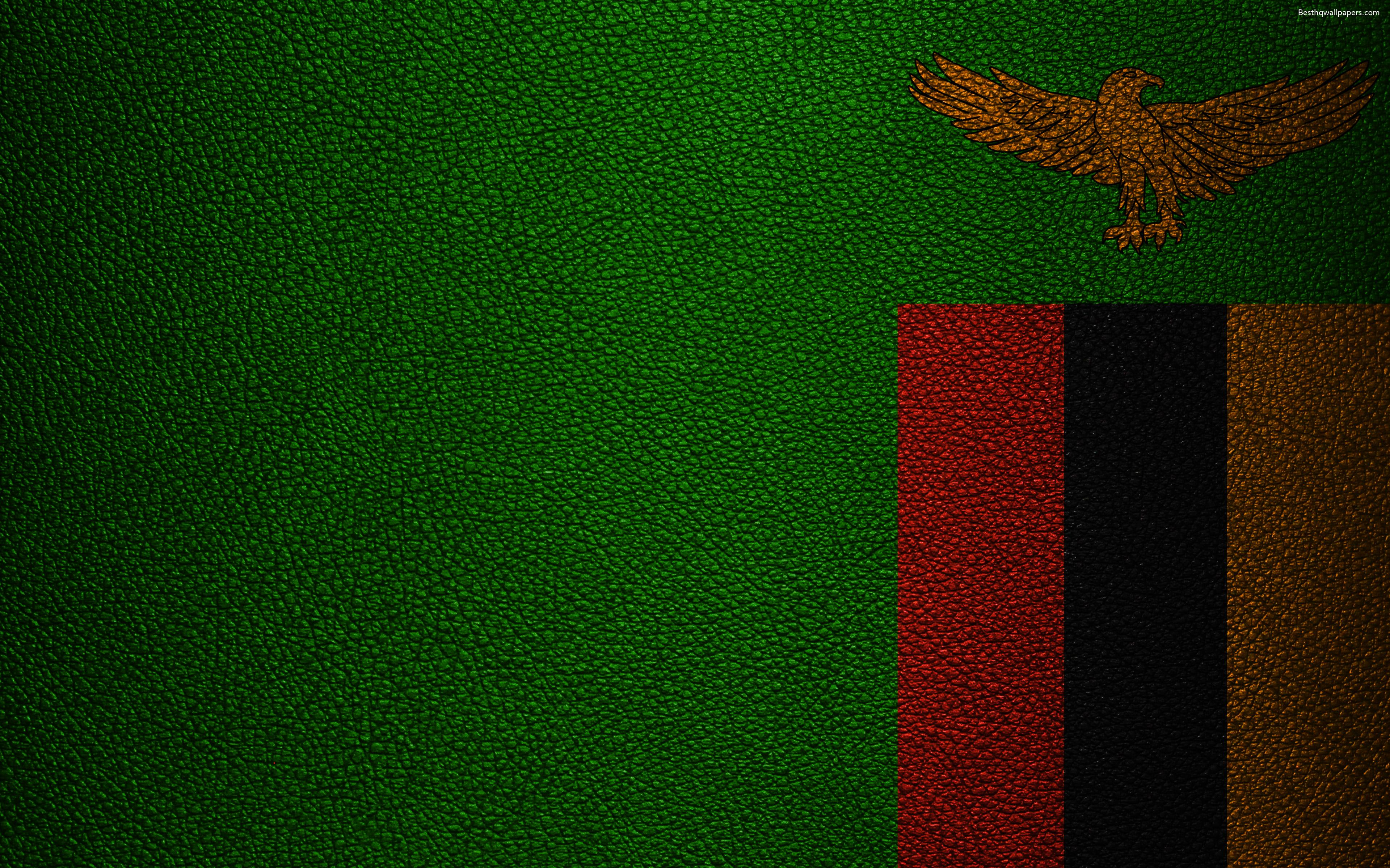 Download wallpapers Flag of Zambia, leather texture, 4k, Zambian