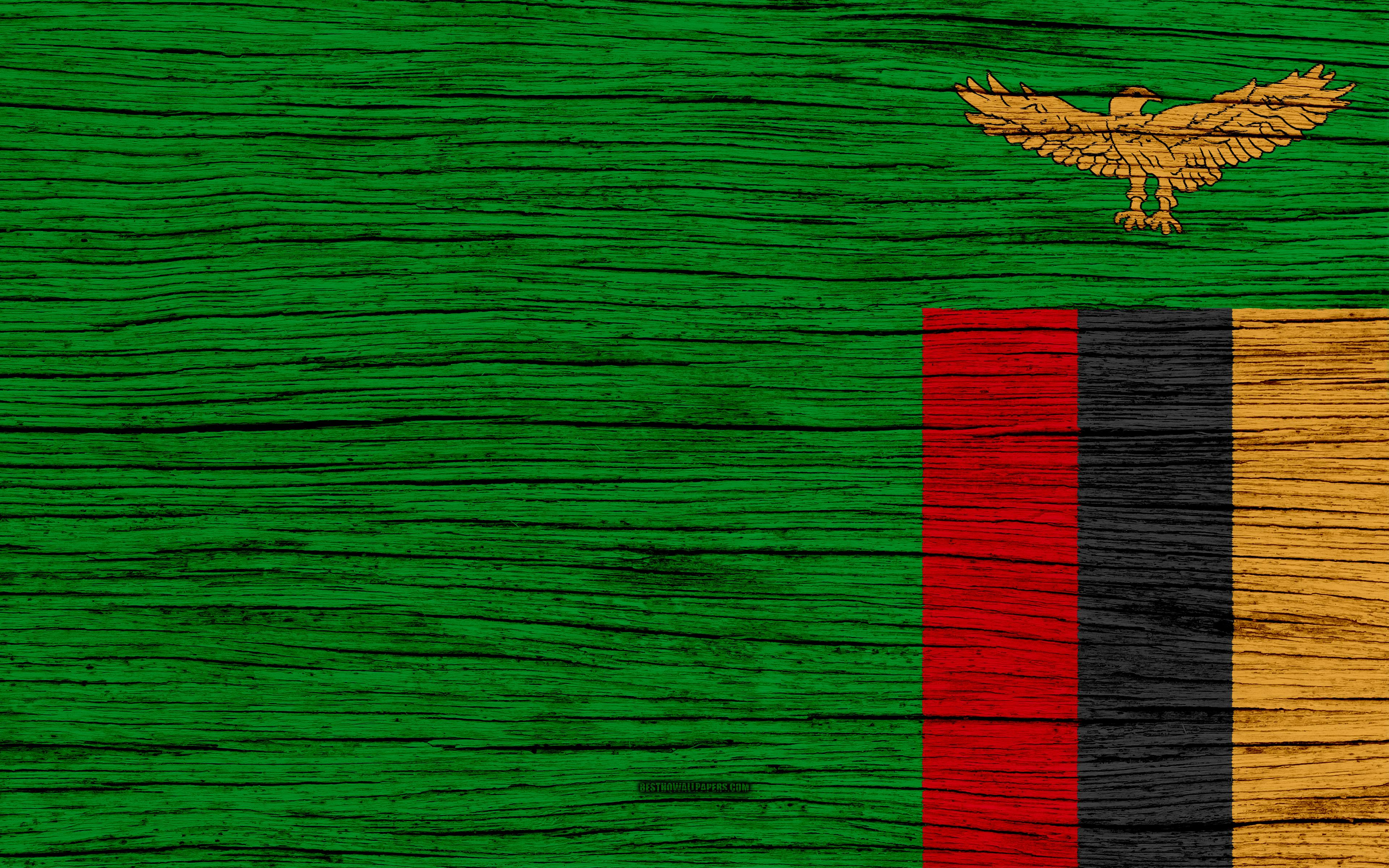 Download wallpapers Flag of Zambia, 4k, Africa, wooden texture