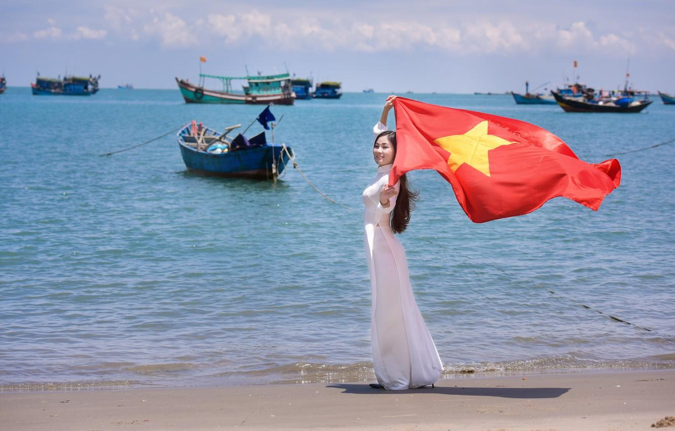 Wallpaper sea, summer, girl, face, boats, dress, flag, Vietnam ...