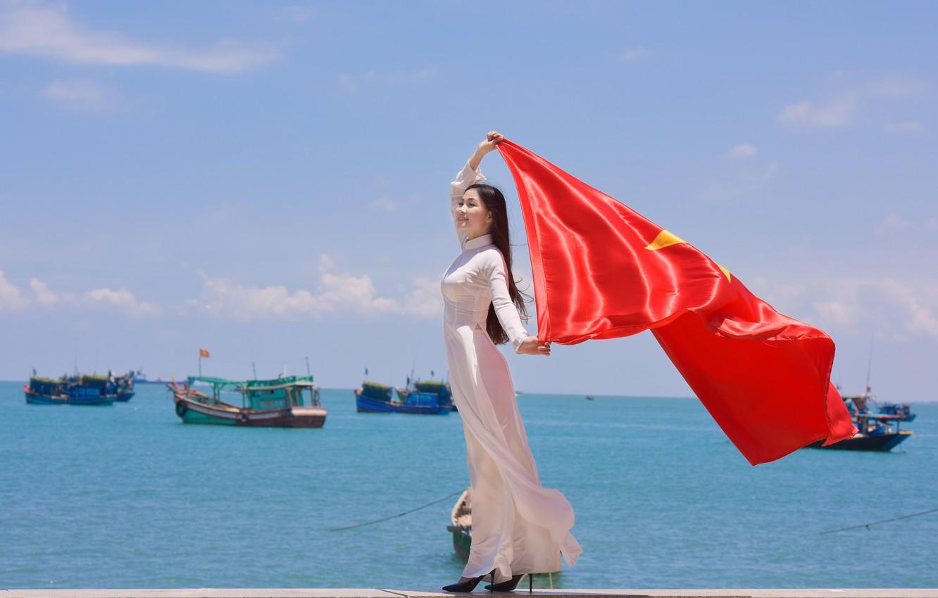 Wallpaper girl, face, the wind, star, dress, flag, Vietnam images ...
