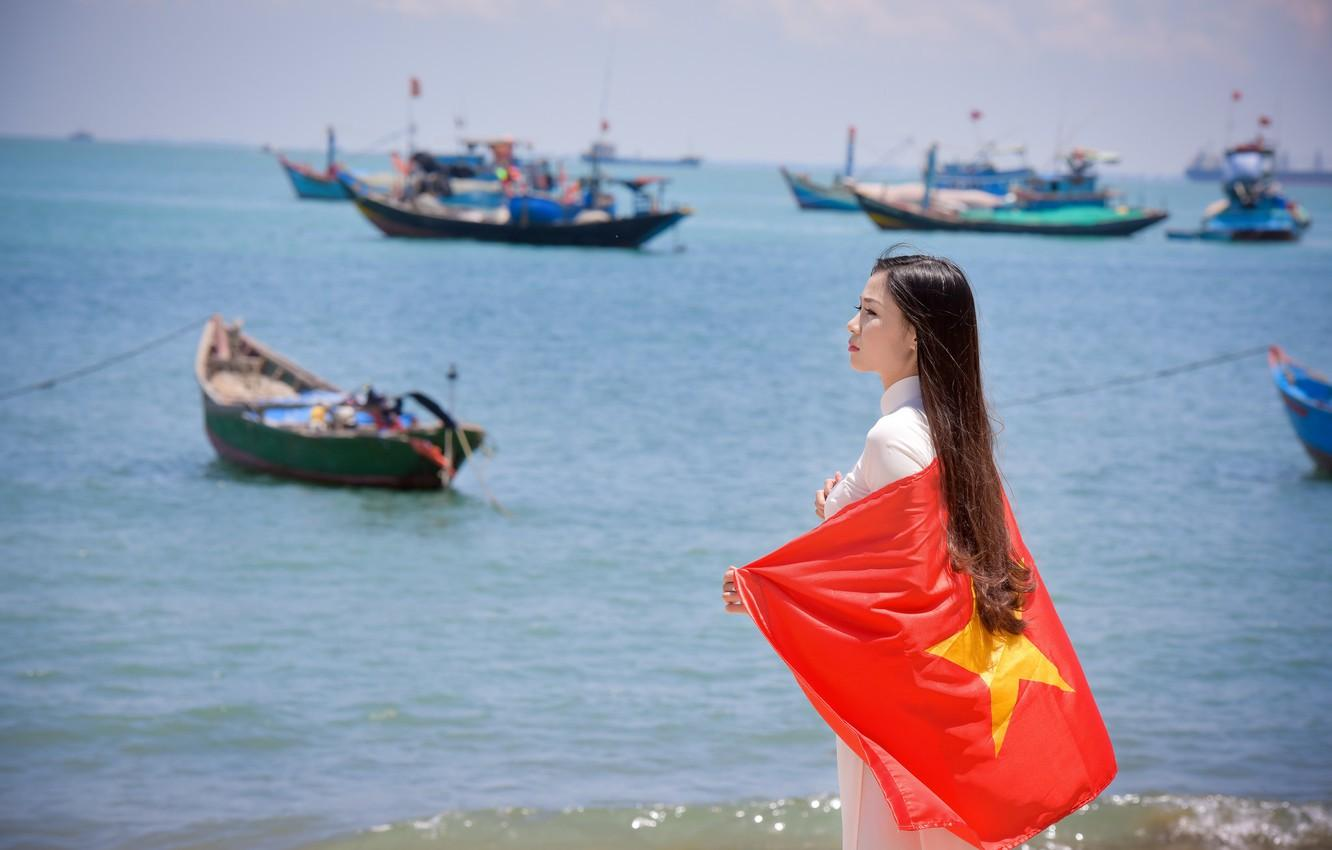 Wallpaper sea, summer, girl, face, dress, flag, Vietnam images for ...