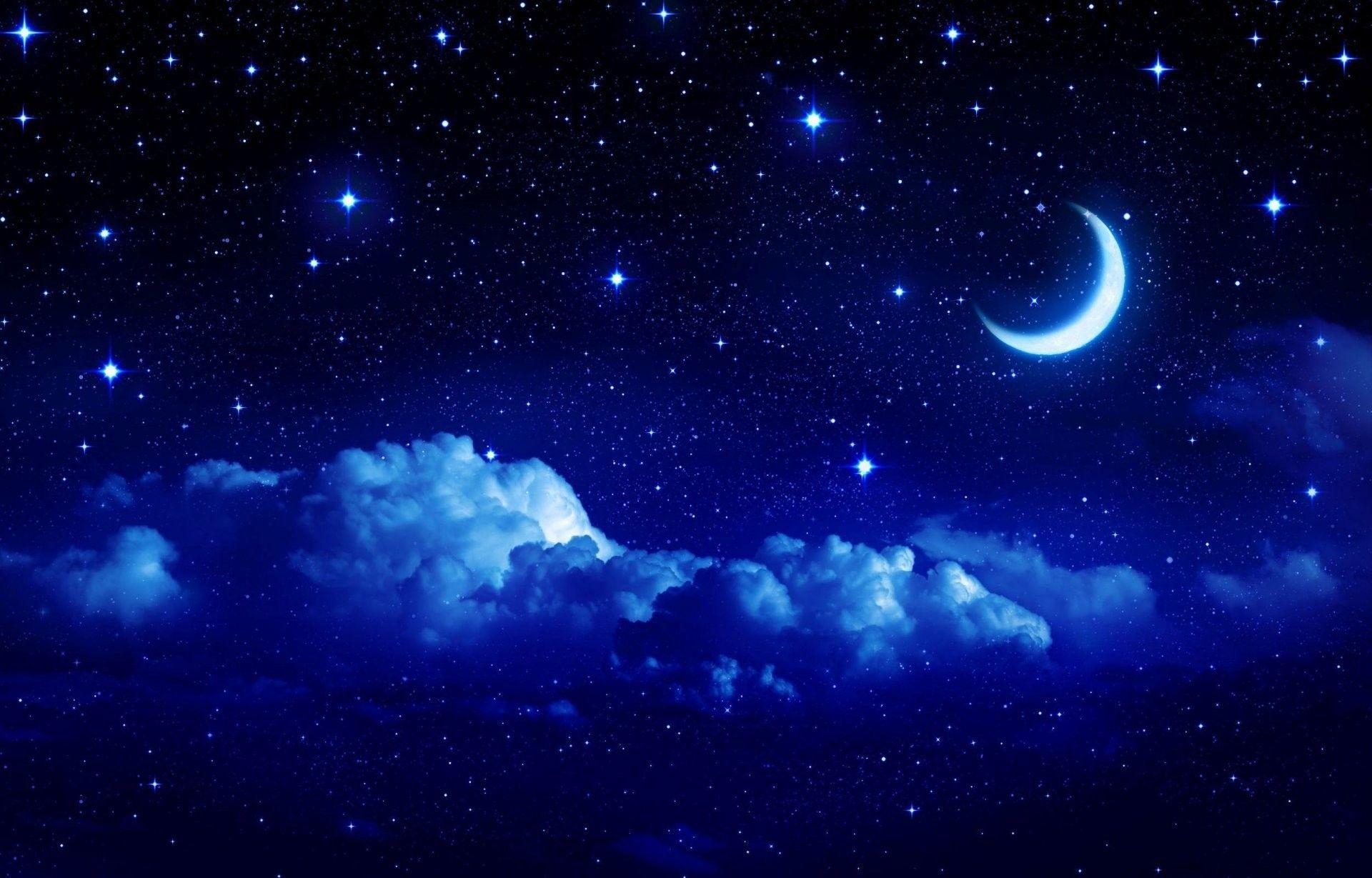 1920x1229 landscape star sky moon year crescent cloud clouds night