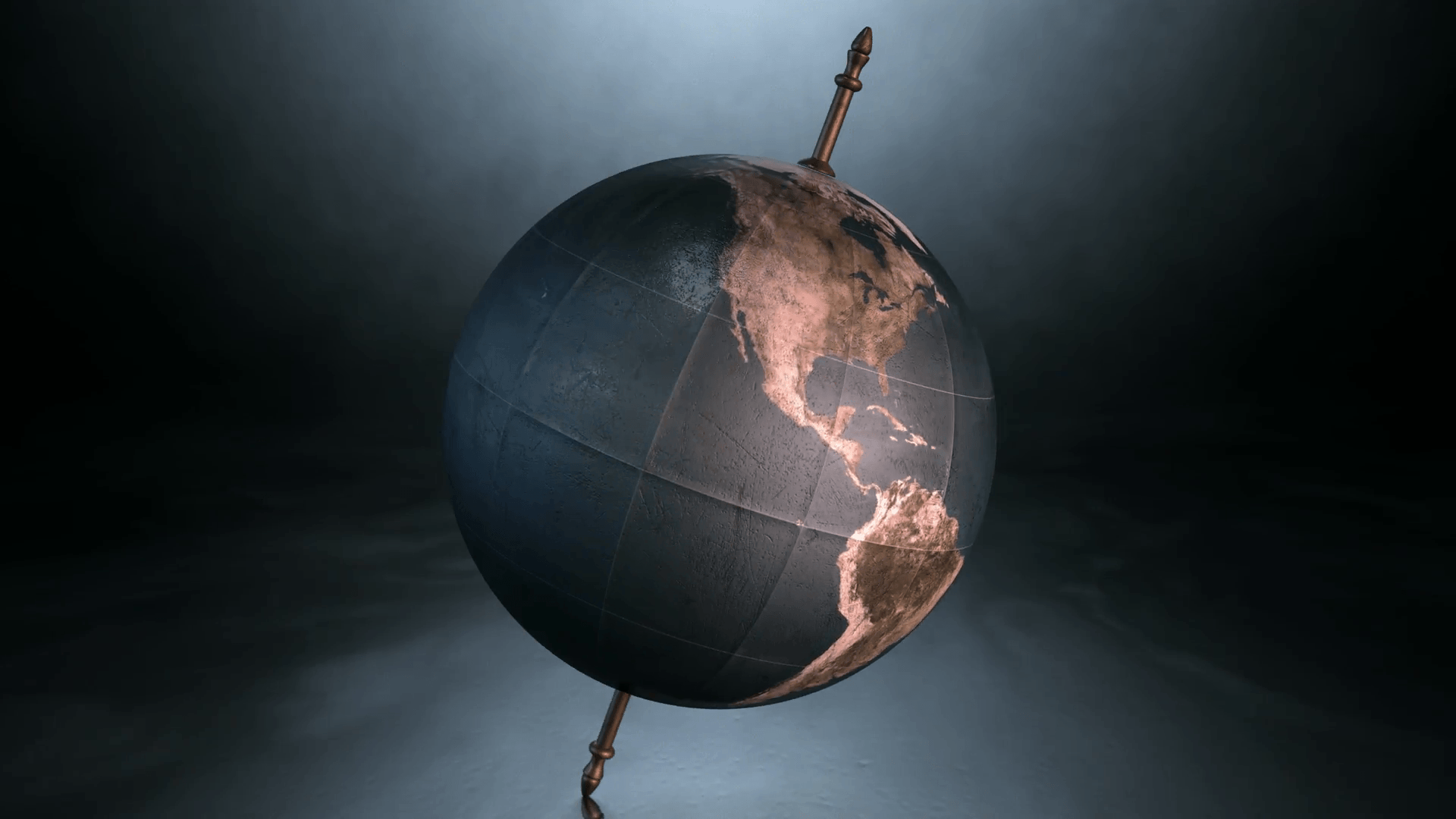 A static view of a world globe ornament spinning on a tilted axis on