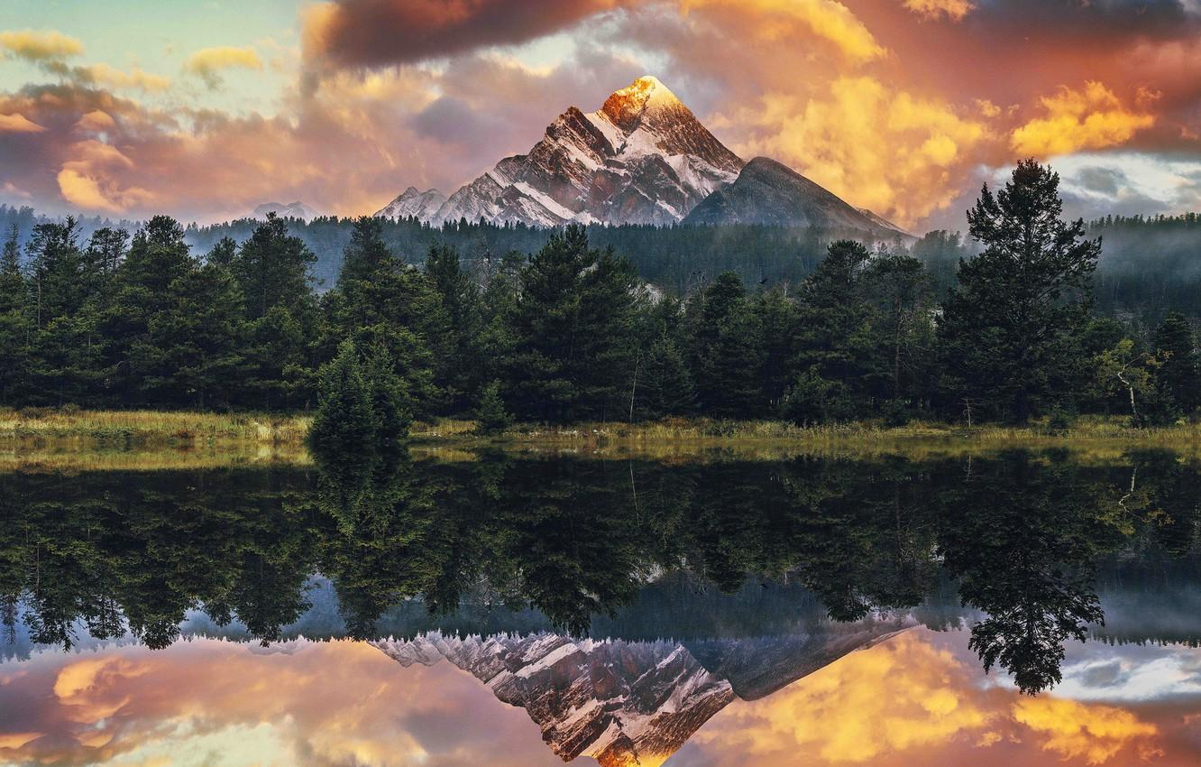 Wallpaper forest, hdr, USA, usa, mountain lake, sunset in the ...
