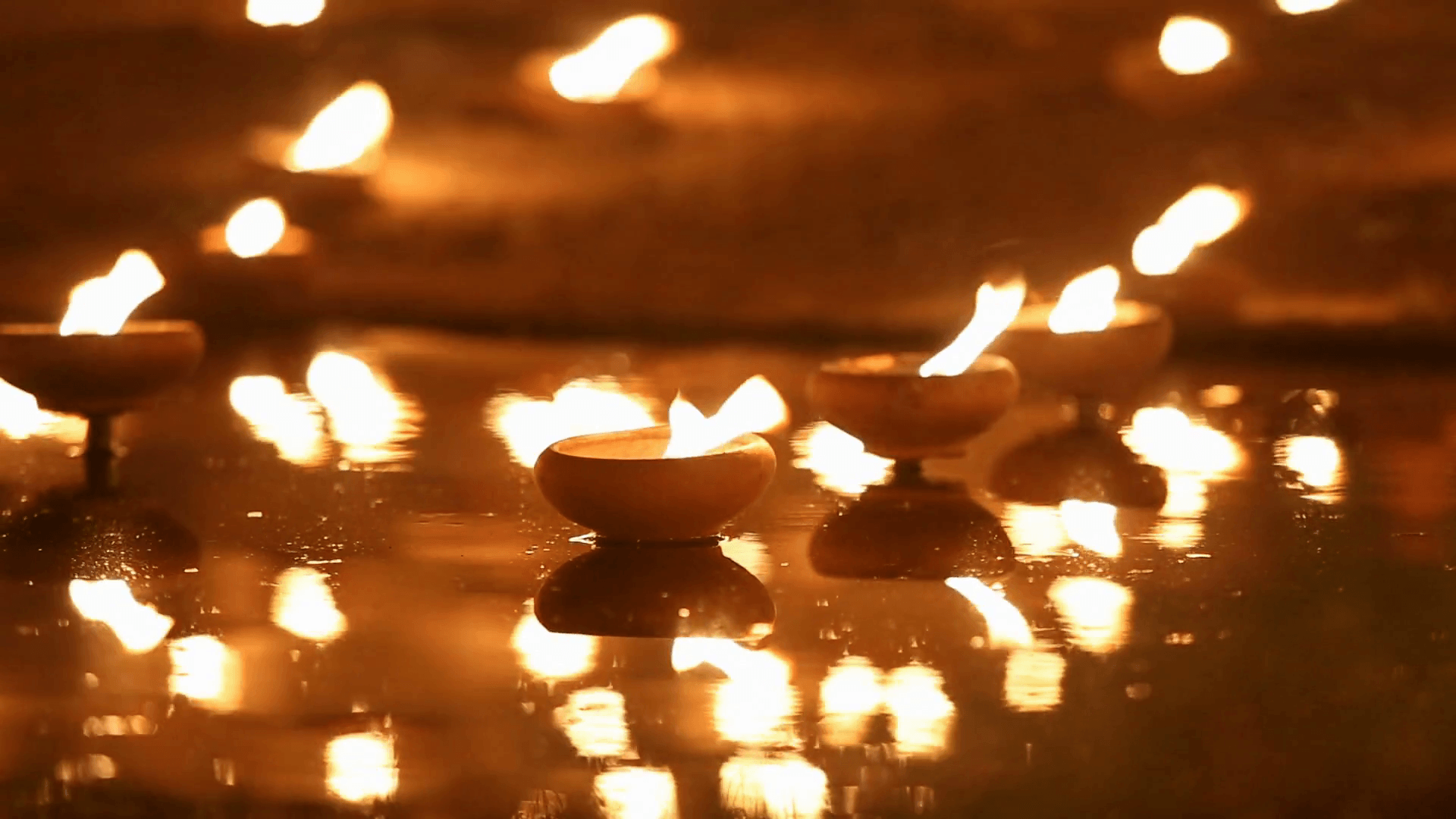 Magha puja day, Monks light the candle for buddha, Chiangmai