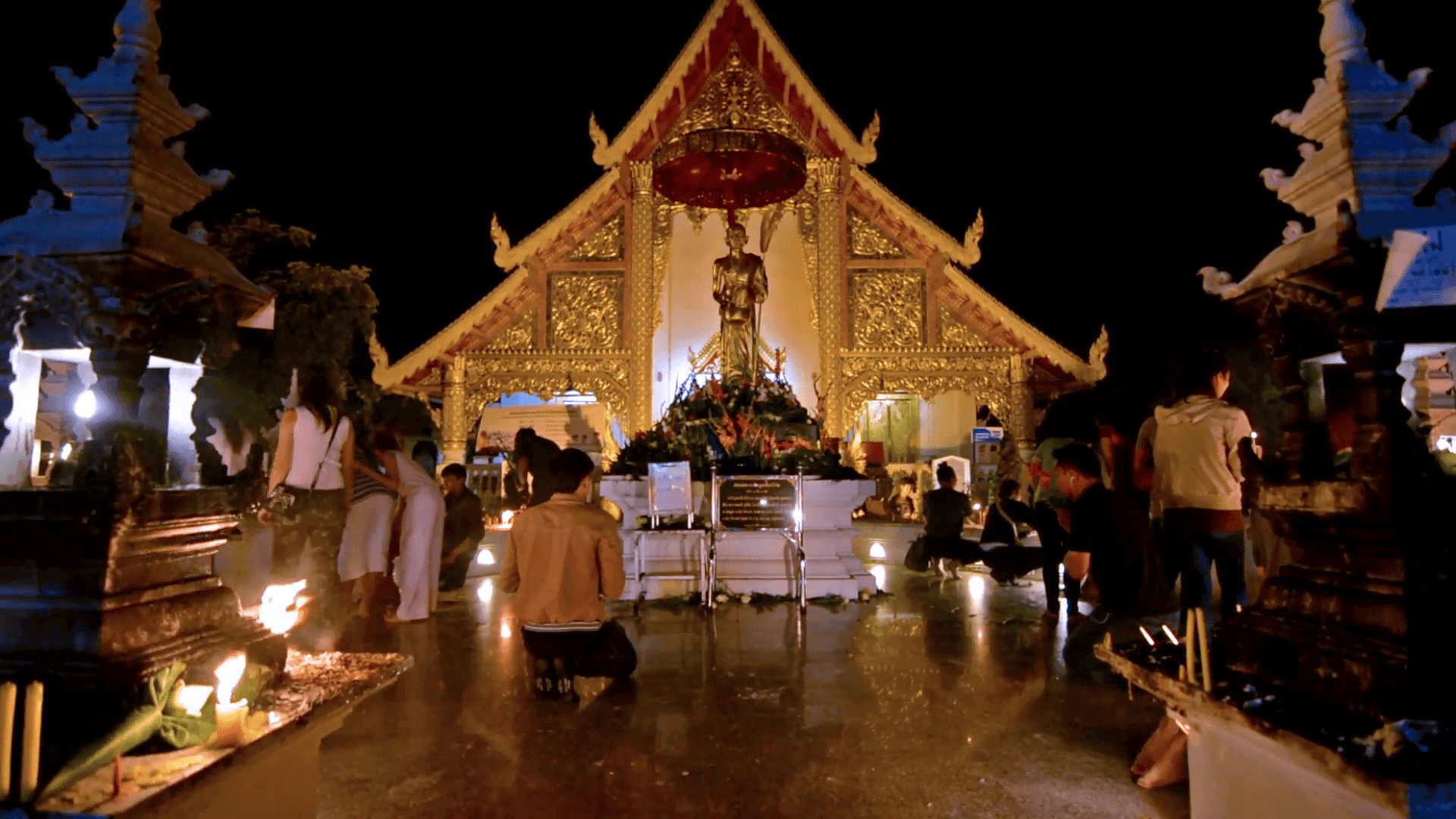 Chiang Mai, Thailand circa February 2016. Thai people praying and