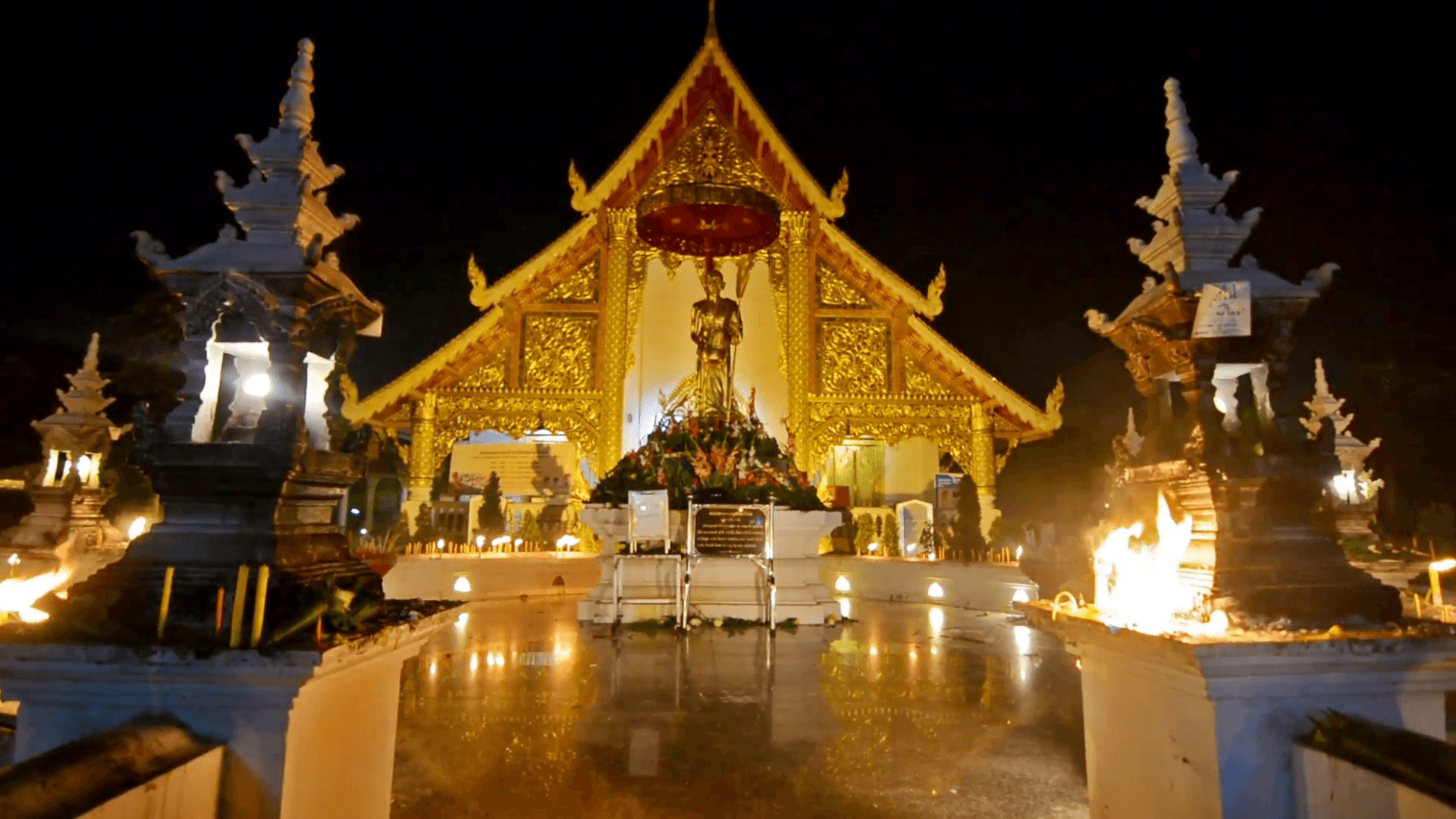 Magha Puja day in Wat Phra Singh. Chiang Mai, Thailand. Empty shrine