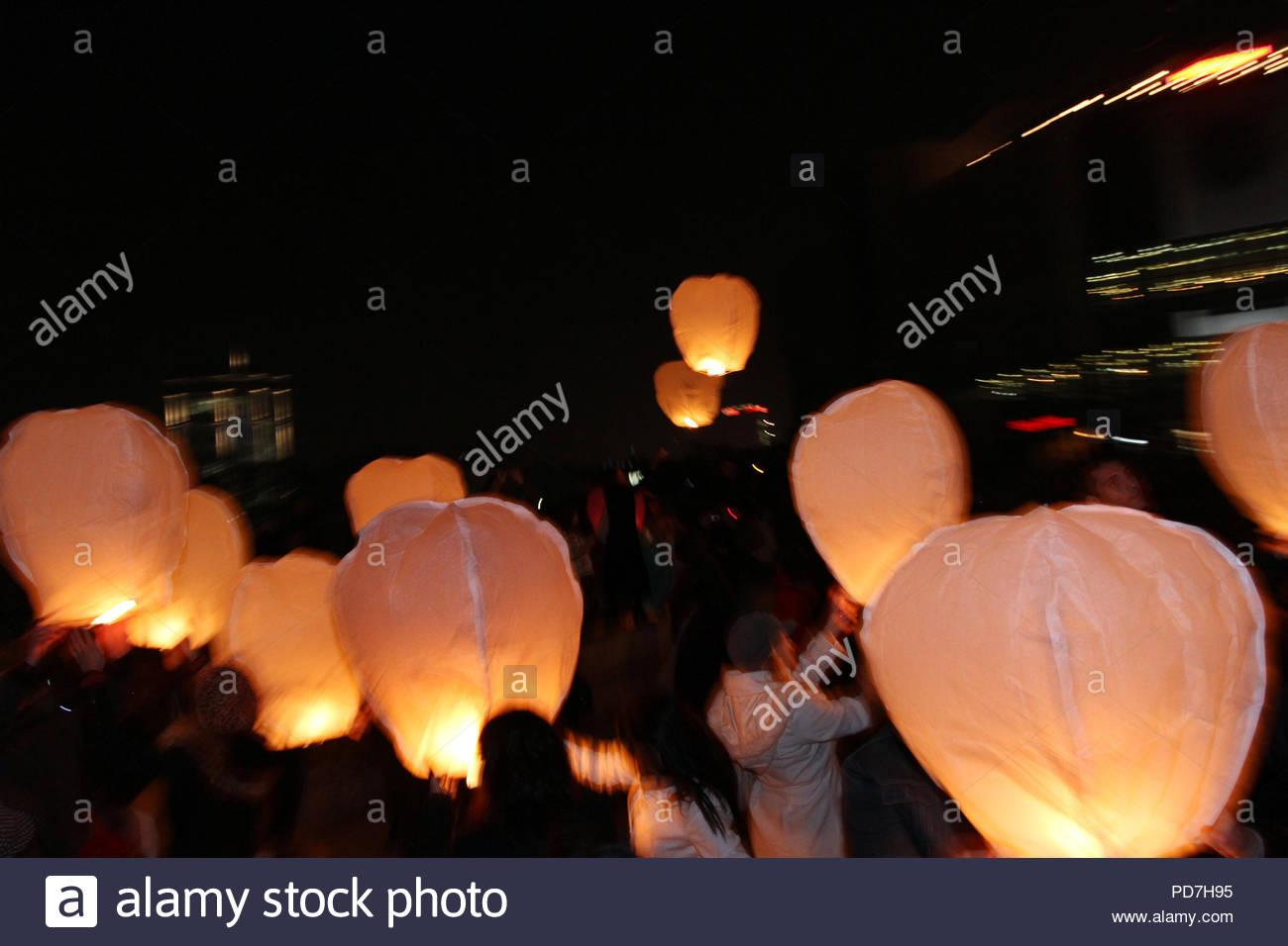 Sky lanterns floating in the sky. Deepavali lights festival. Chinese