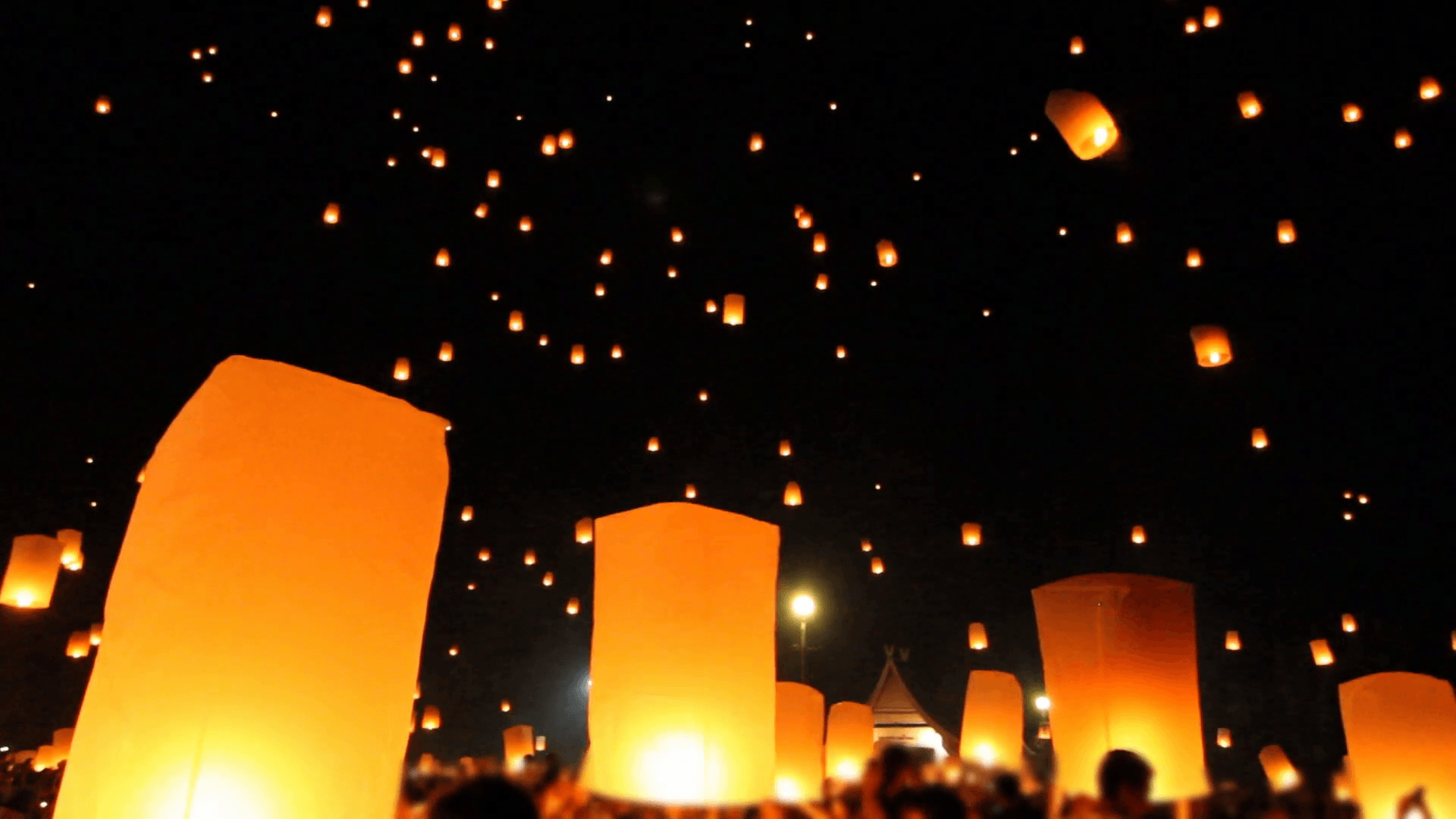 Release floating lanterns to the sky , Lantern festival Stock Video