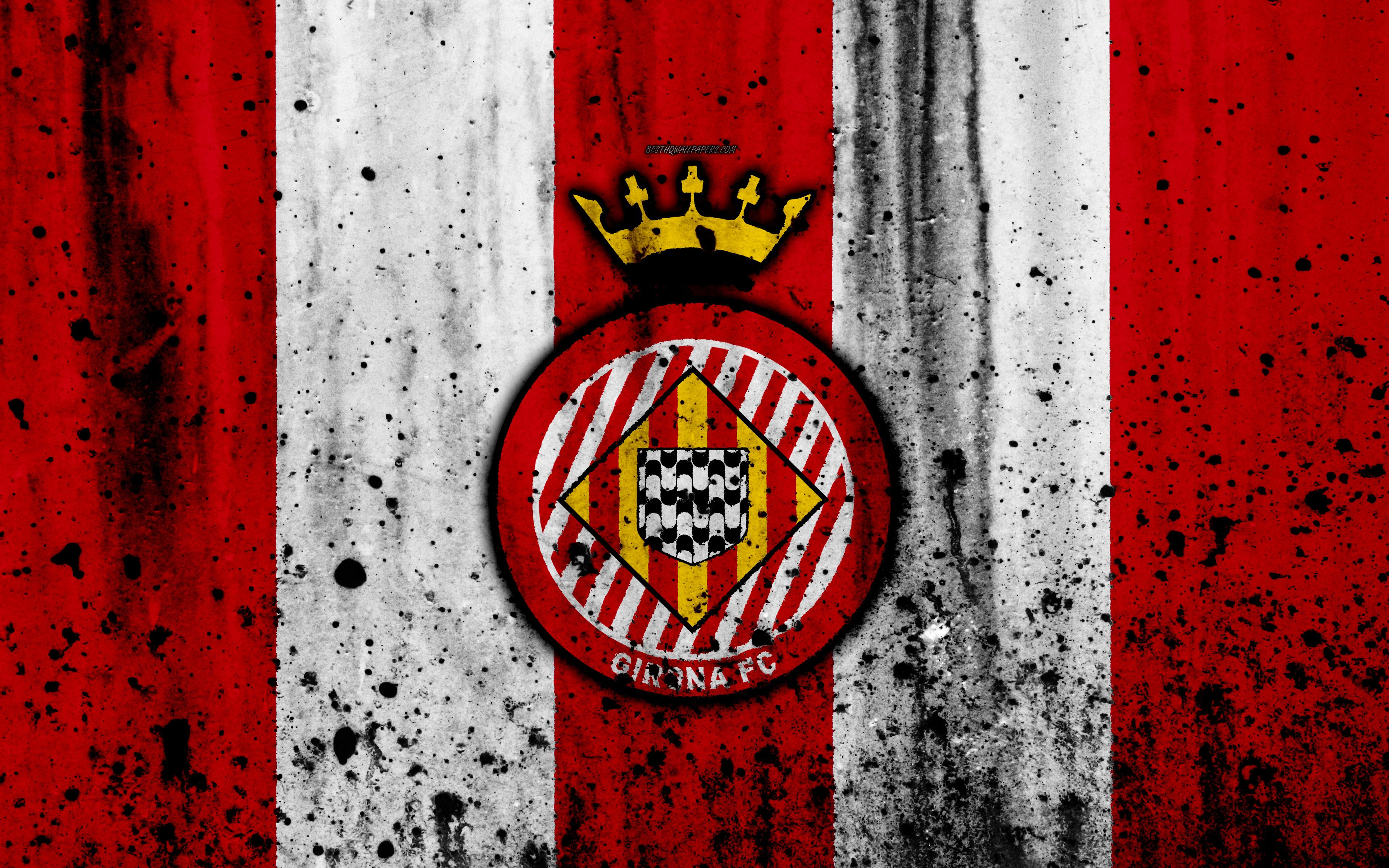 Download wallpapers Girona, 4k, grunge, La Liga, stone texture