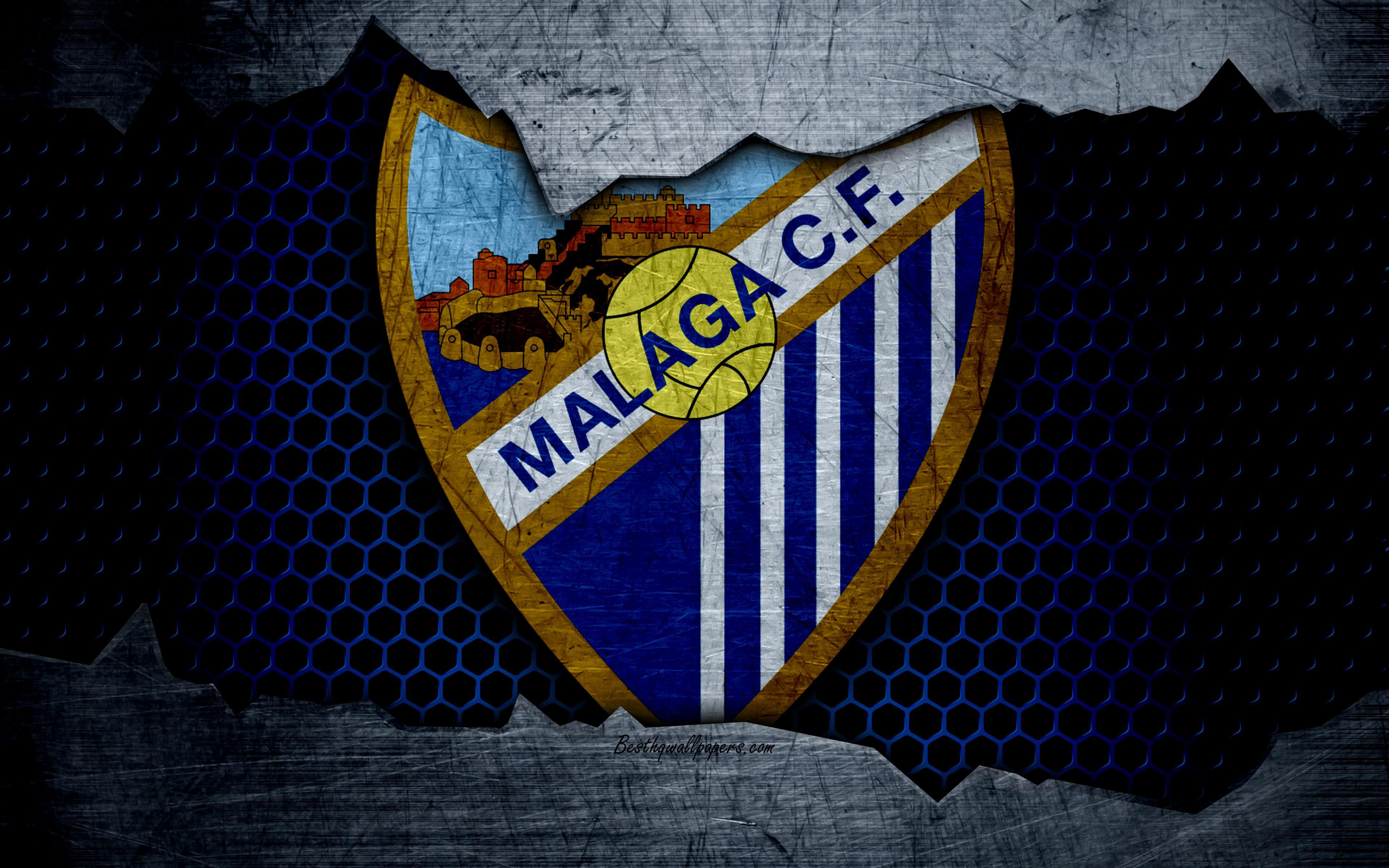 Download wallpapers Malaga FC, 4k, La Liga, football, emblem, Malaga
