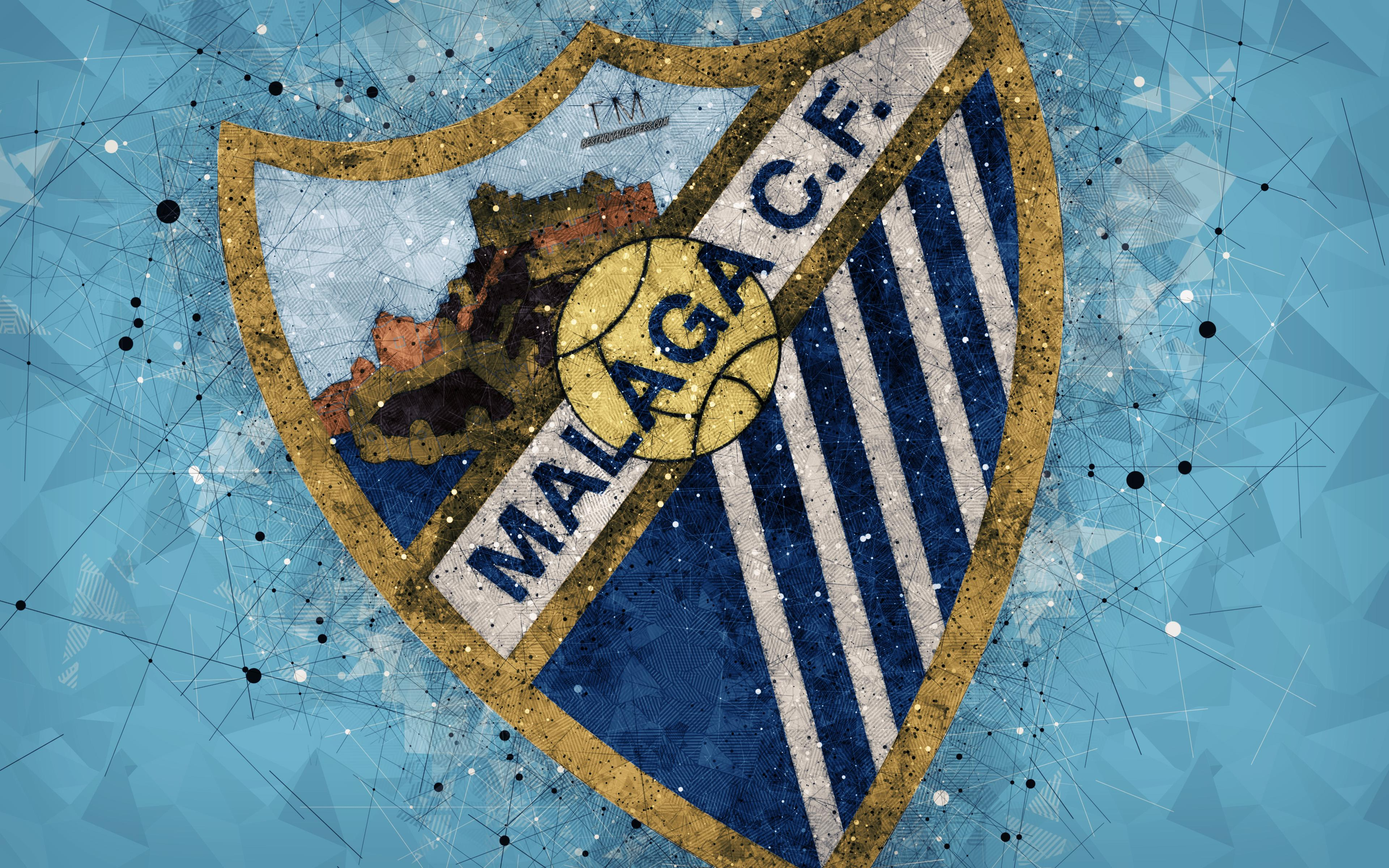 Download wallpapers Malaga CF, 4k, creative logo, Spanish football