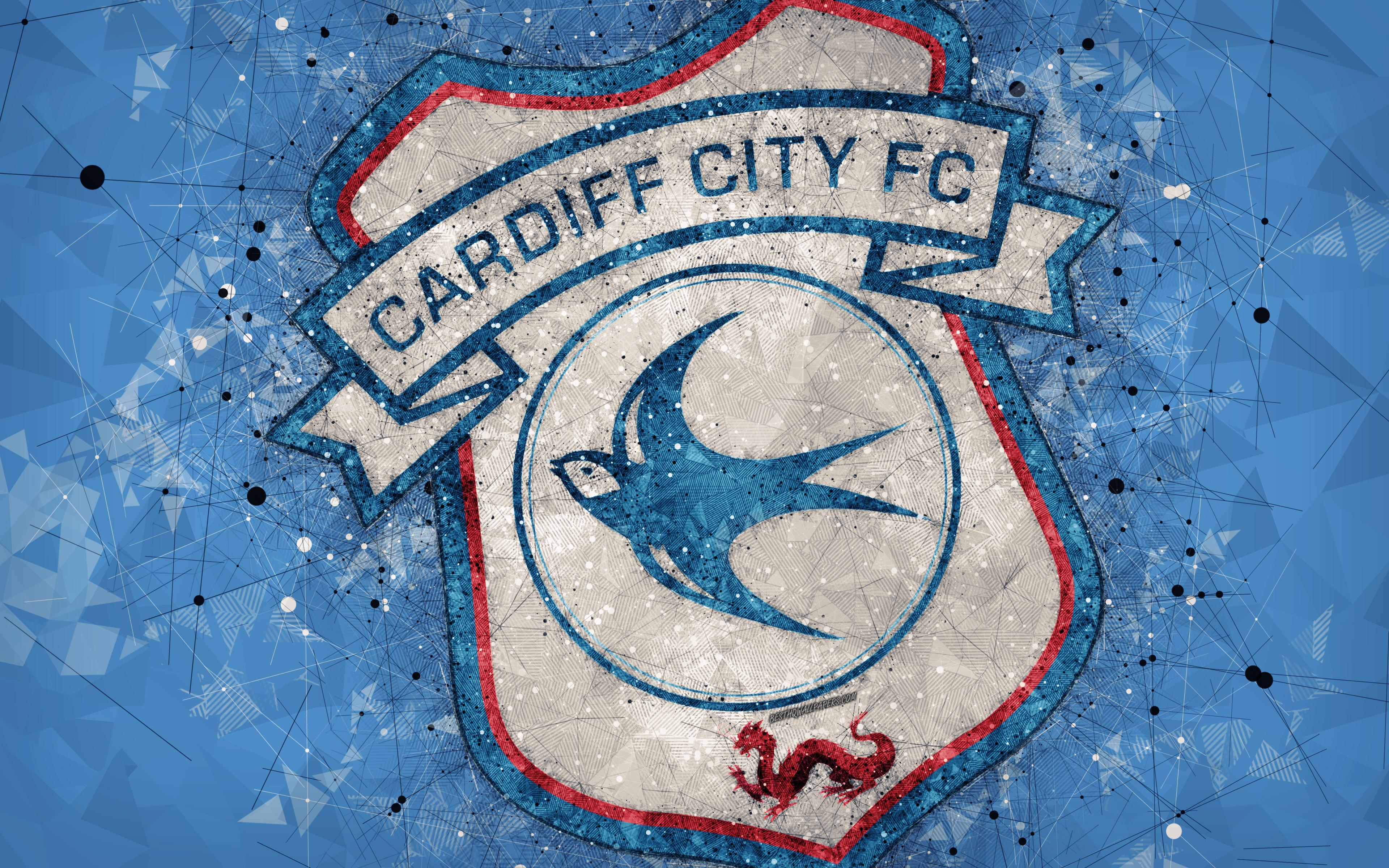 Download wallpapers Cardiff City FC, 4k, geometric art, logo, blue ...