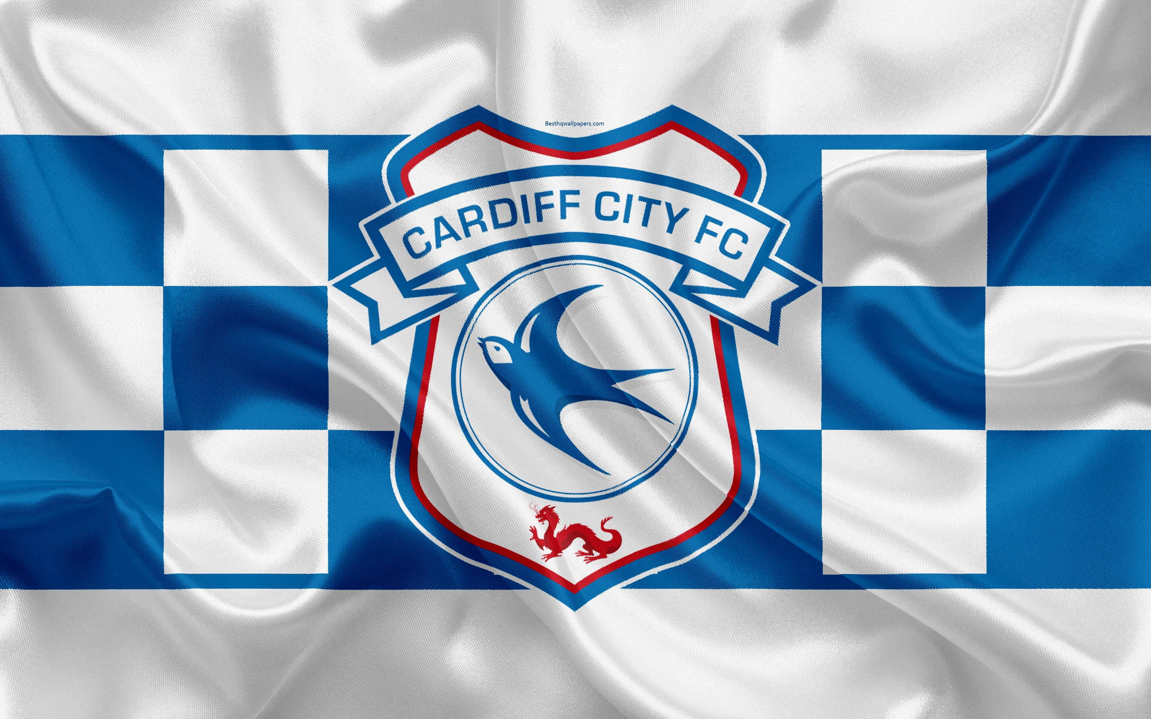 Download wallpapers Cardiff City FC, silk flag, emblem, logo, 4k ...