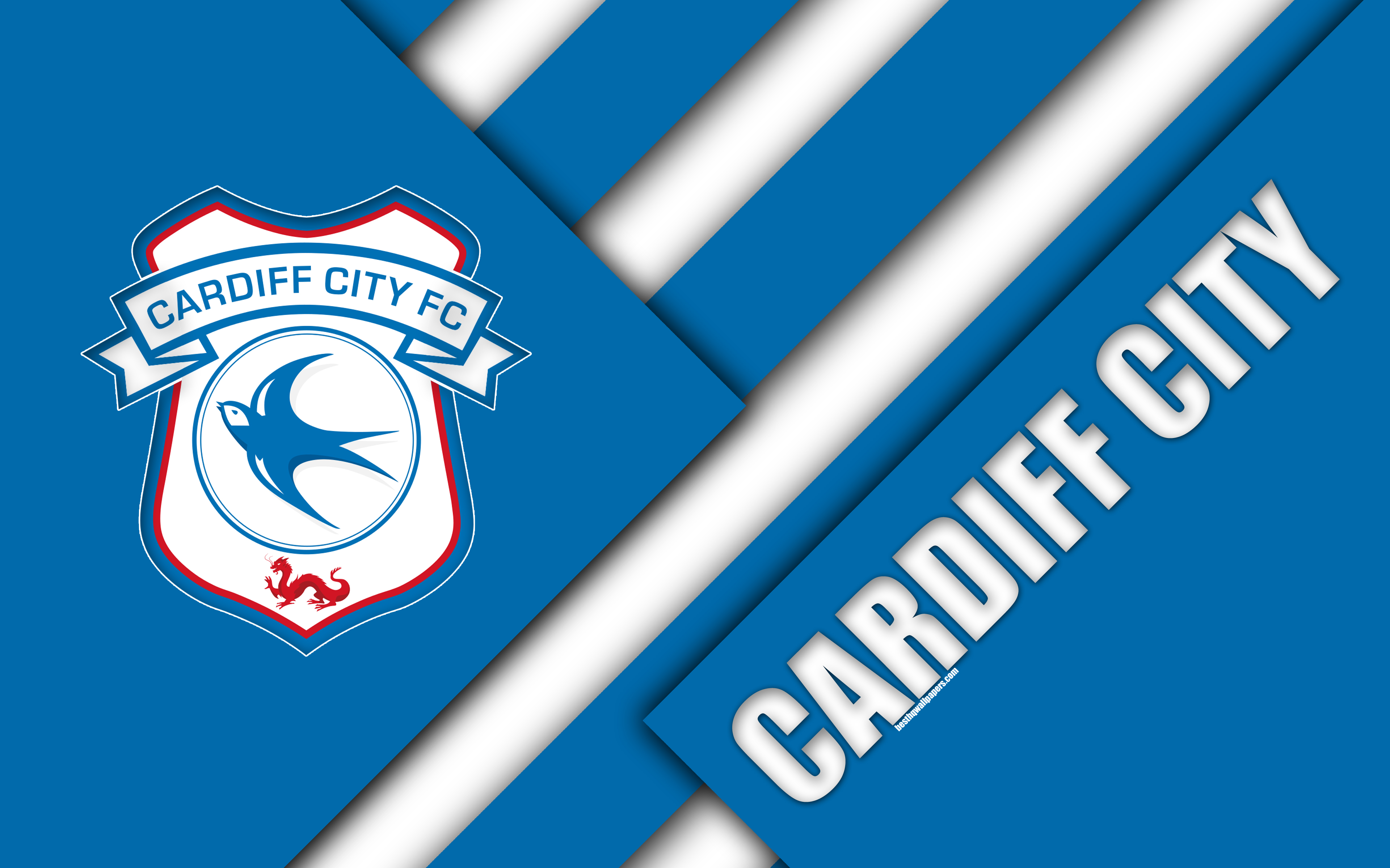 Download wallpapers Cardiff City FC, logo, 4k, blue white ...
