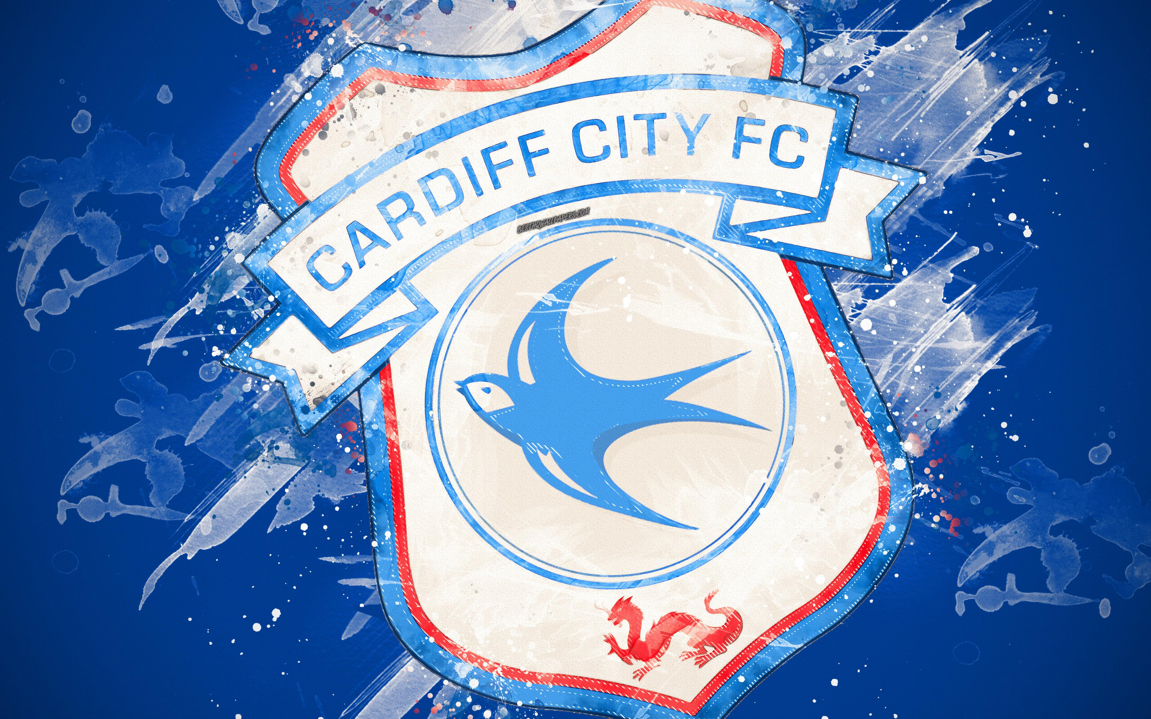 Download wallpapers Cardiff City FC, 4k, paint art, logo, creative ...