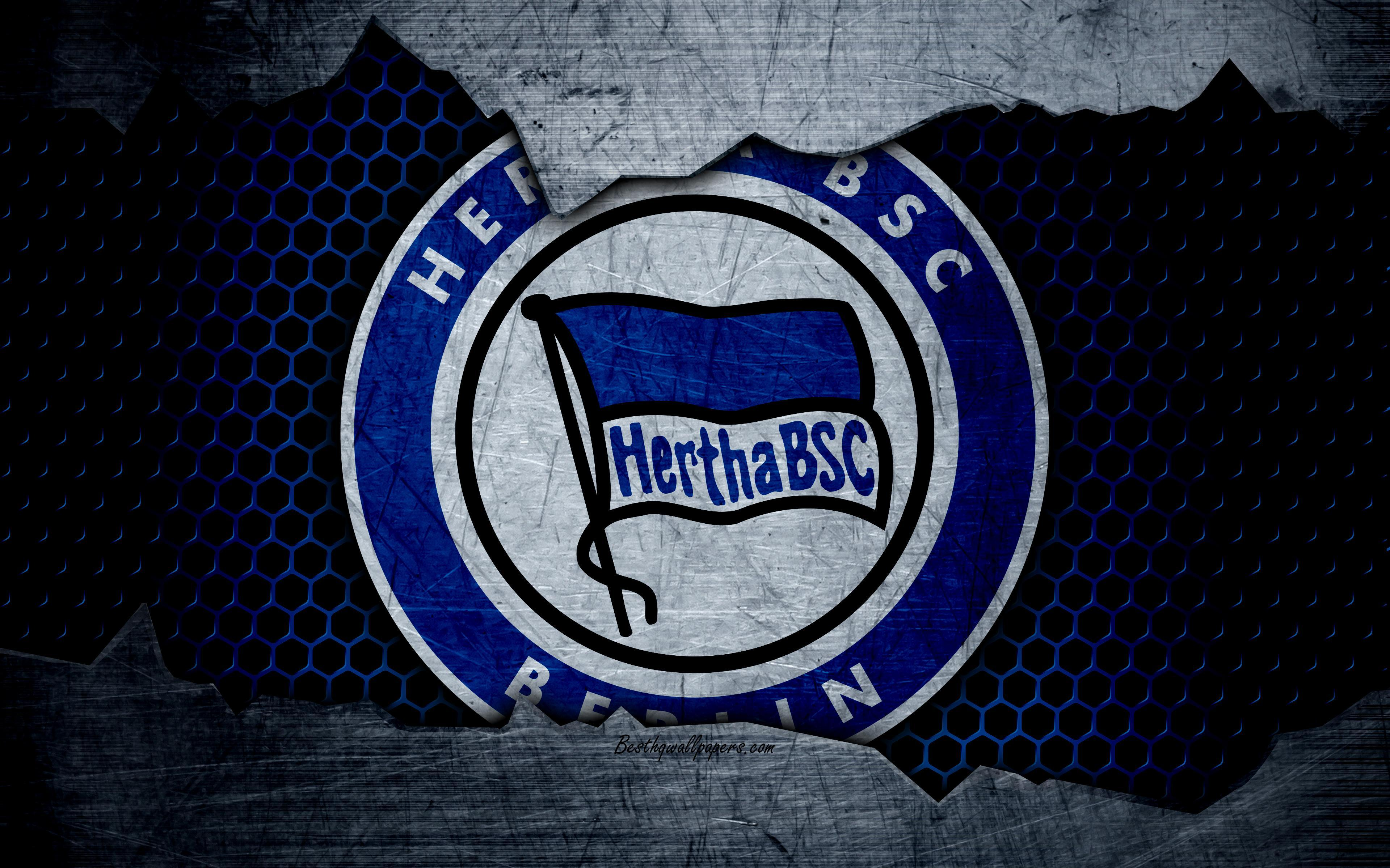Download wallpapers Hertha, 4k, logo, Bundesliga, metal texture