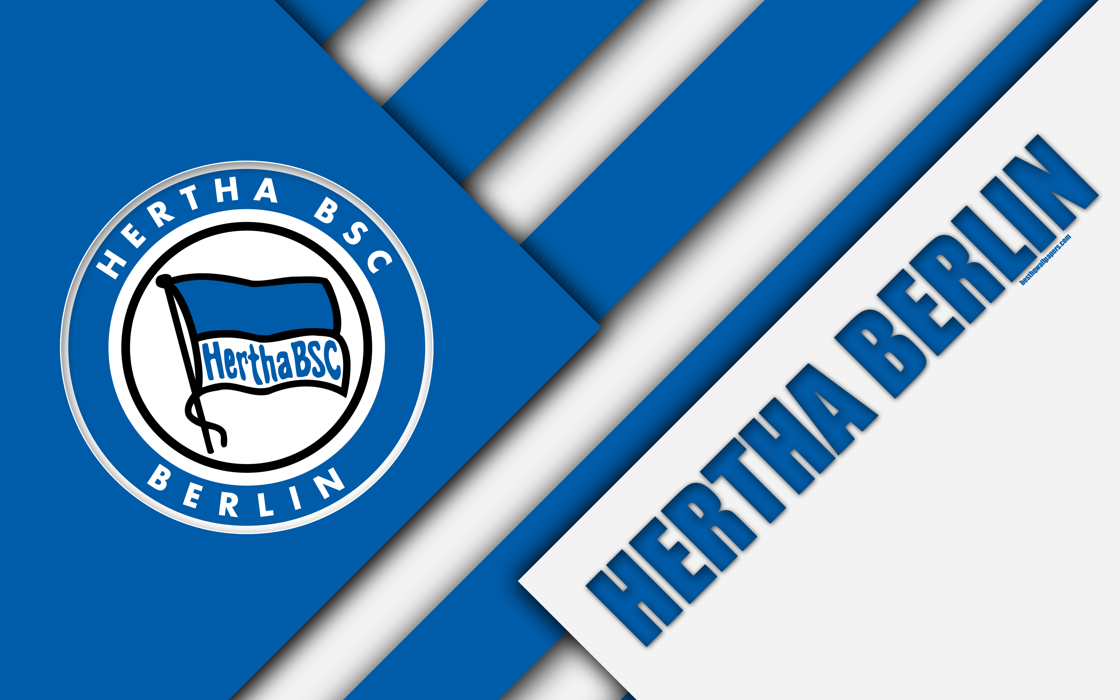 Download wallpapers Hertha Berlin, FC, 4k, material design, emblem