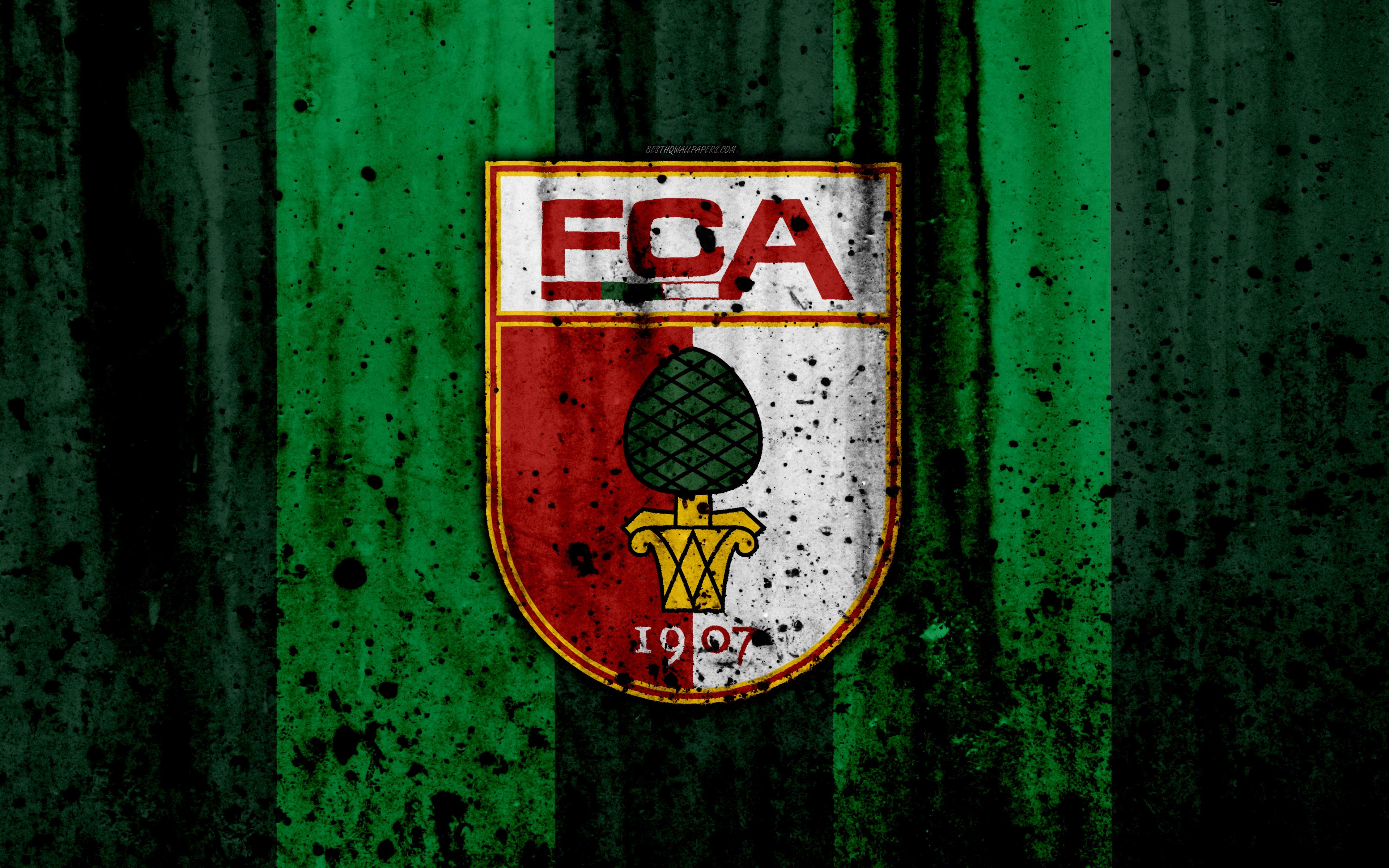 Download wallpapers FC Augsburg, 4k, logo, Bundesliga, stone texture