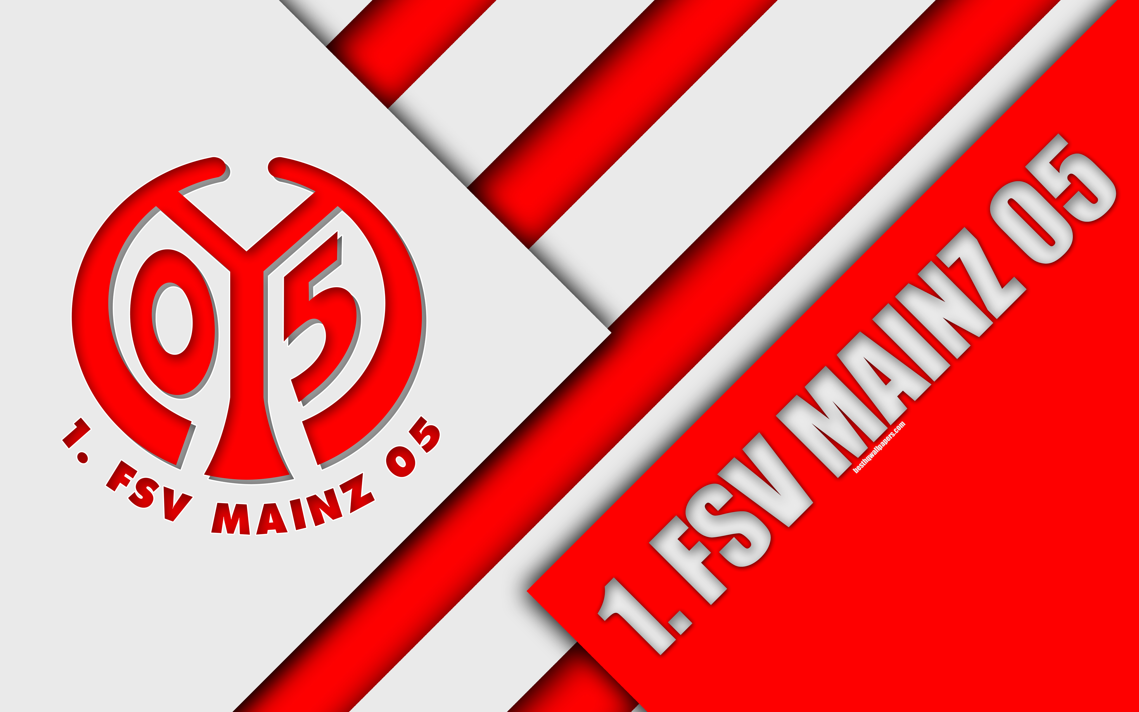 Download wallpapers FSV Mainz 05, 4k, red white abstraction ...