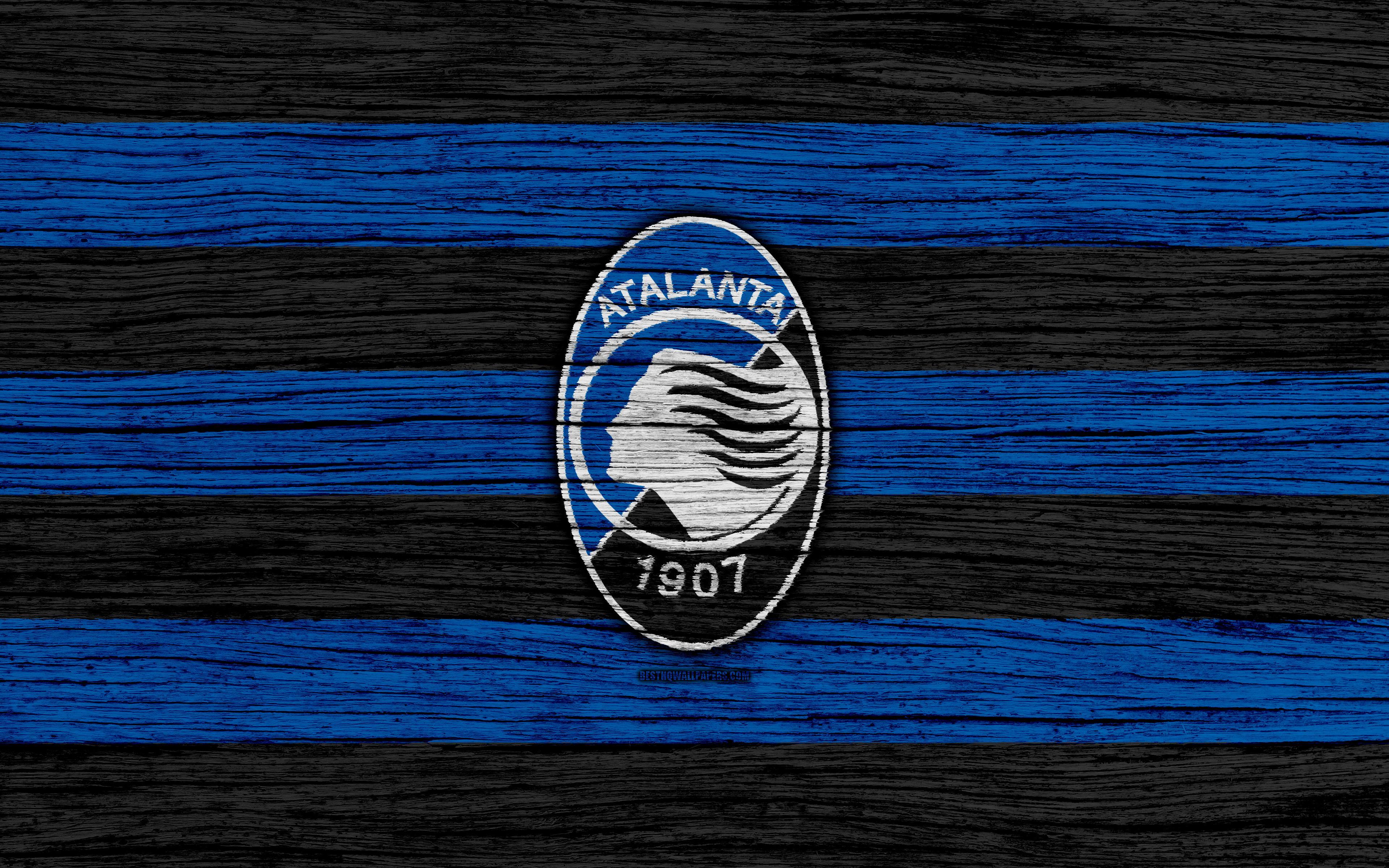 Download wallpapers Atalanta, 4k, Serie A, logo, Italy, wooden