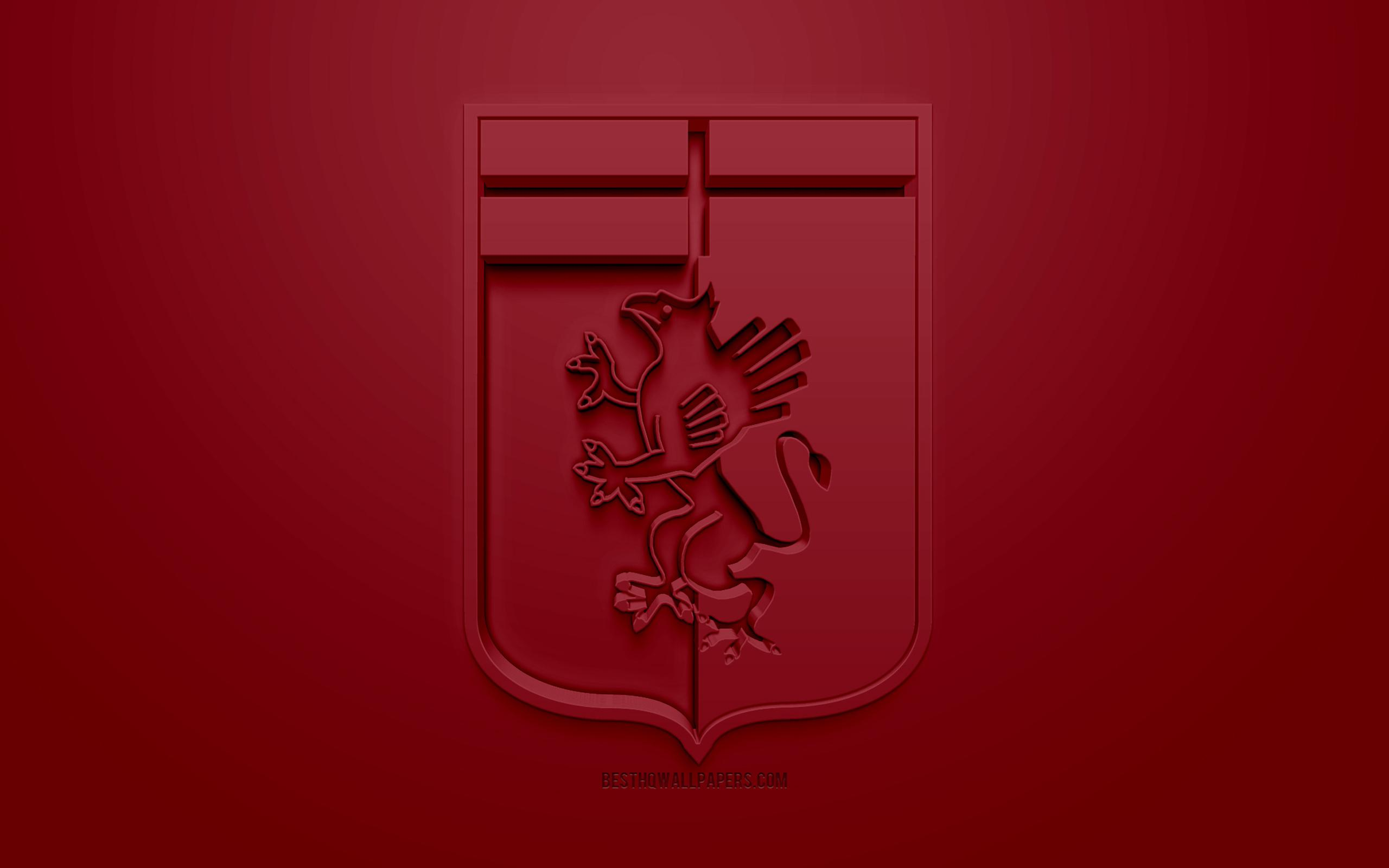 Download wallpapers Genoa CFC, creative 3D logo, burgundy background ...