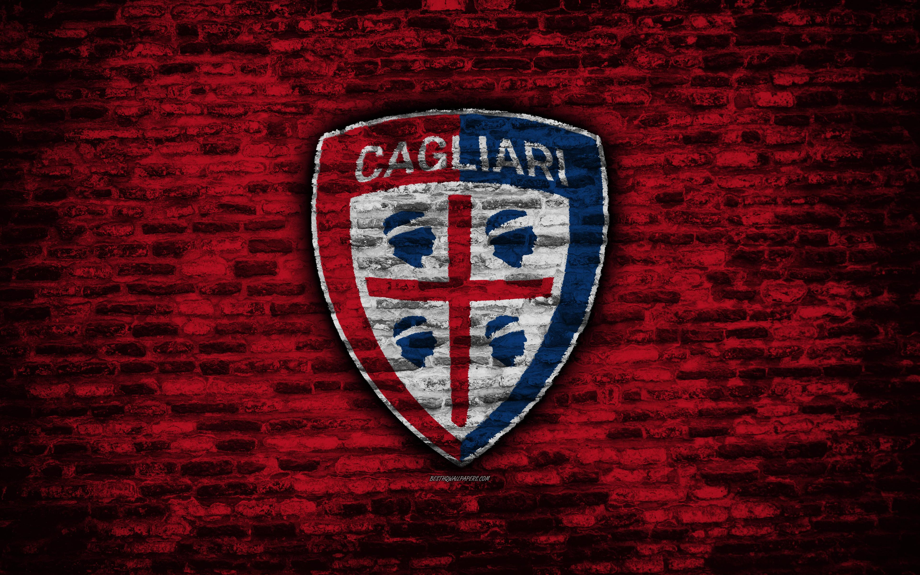 Download wallpapers Cagliari FC, 4k, logo, brick wall, Serie A