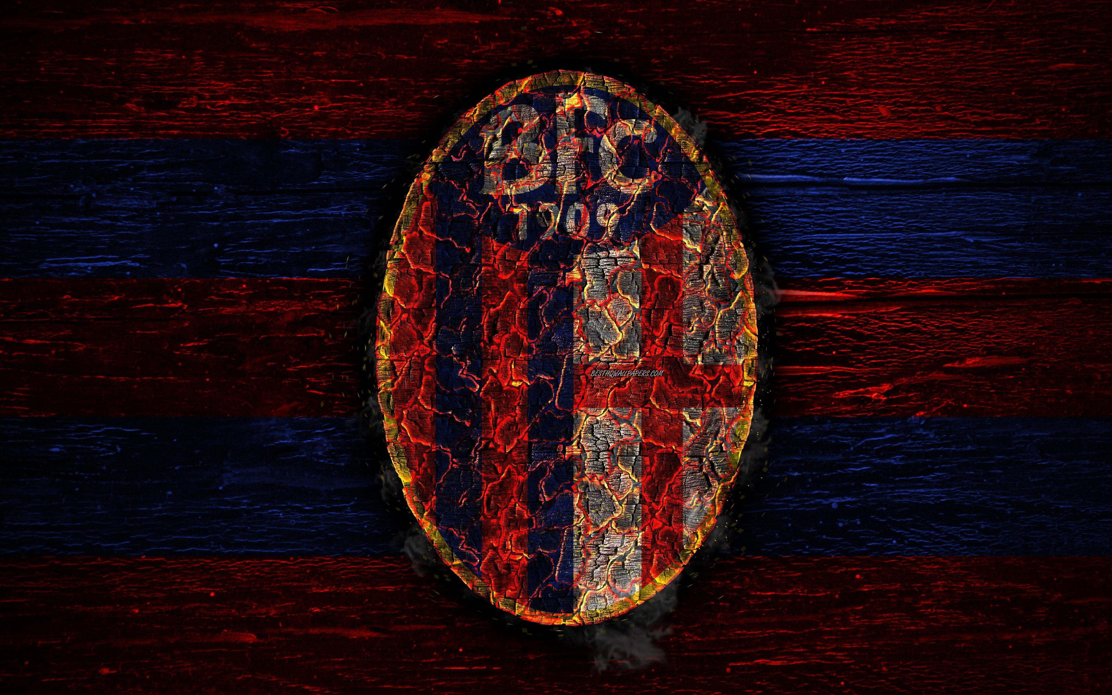 Download wallpapers Bologna FC, 4k, fire logo, Serie A, football ...