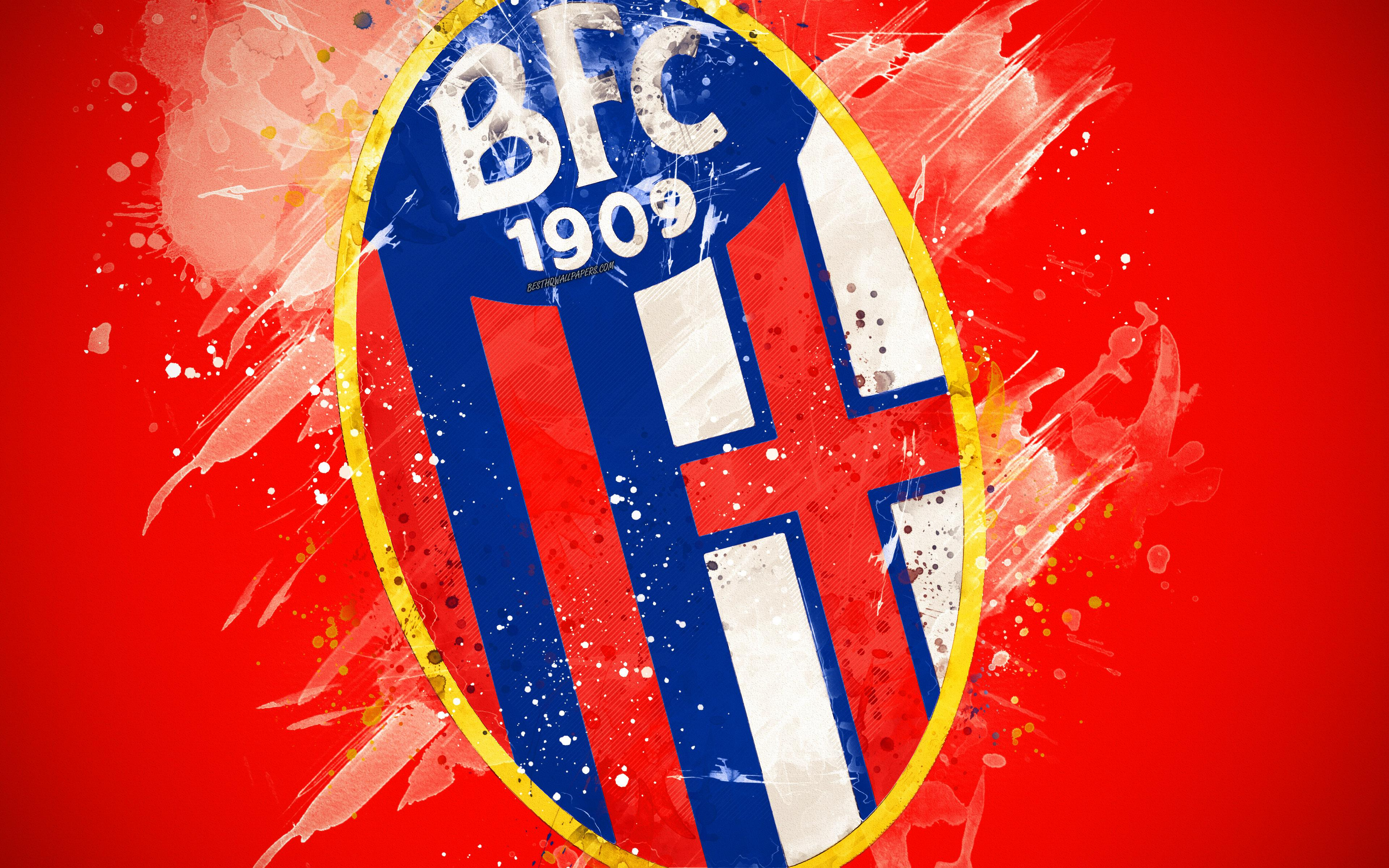 Download wallpapers Bologna FC, 4k, paint art, creative, Italian ...