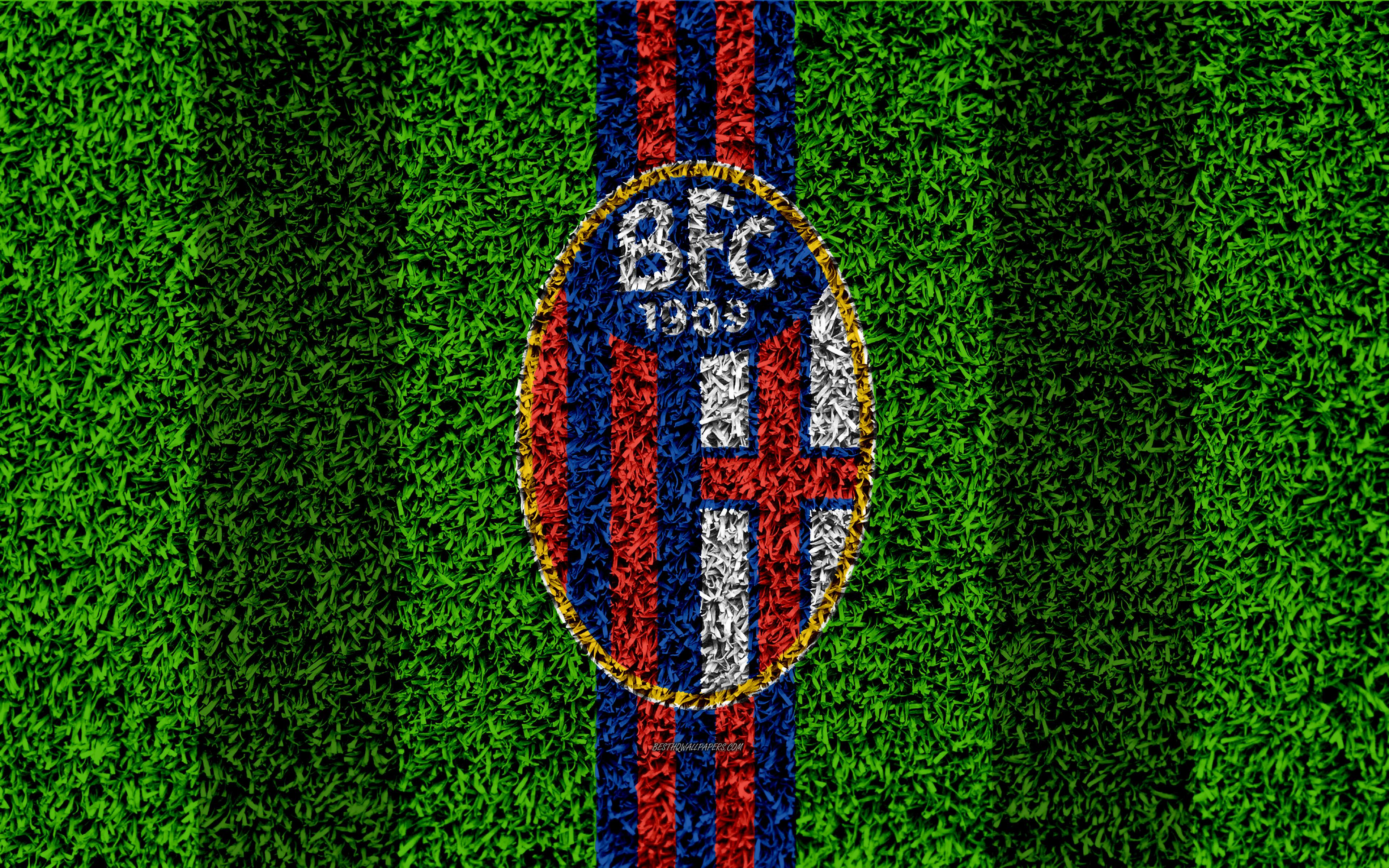 Download wallpapers Bologna FC, 4k, logo, football lawn, Italian ...
