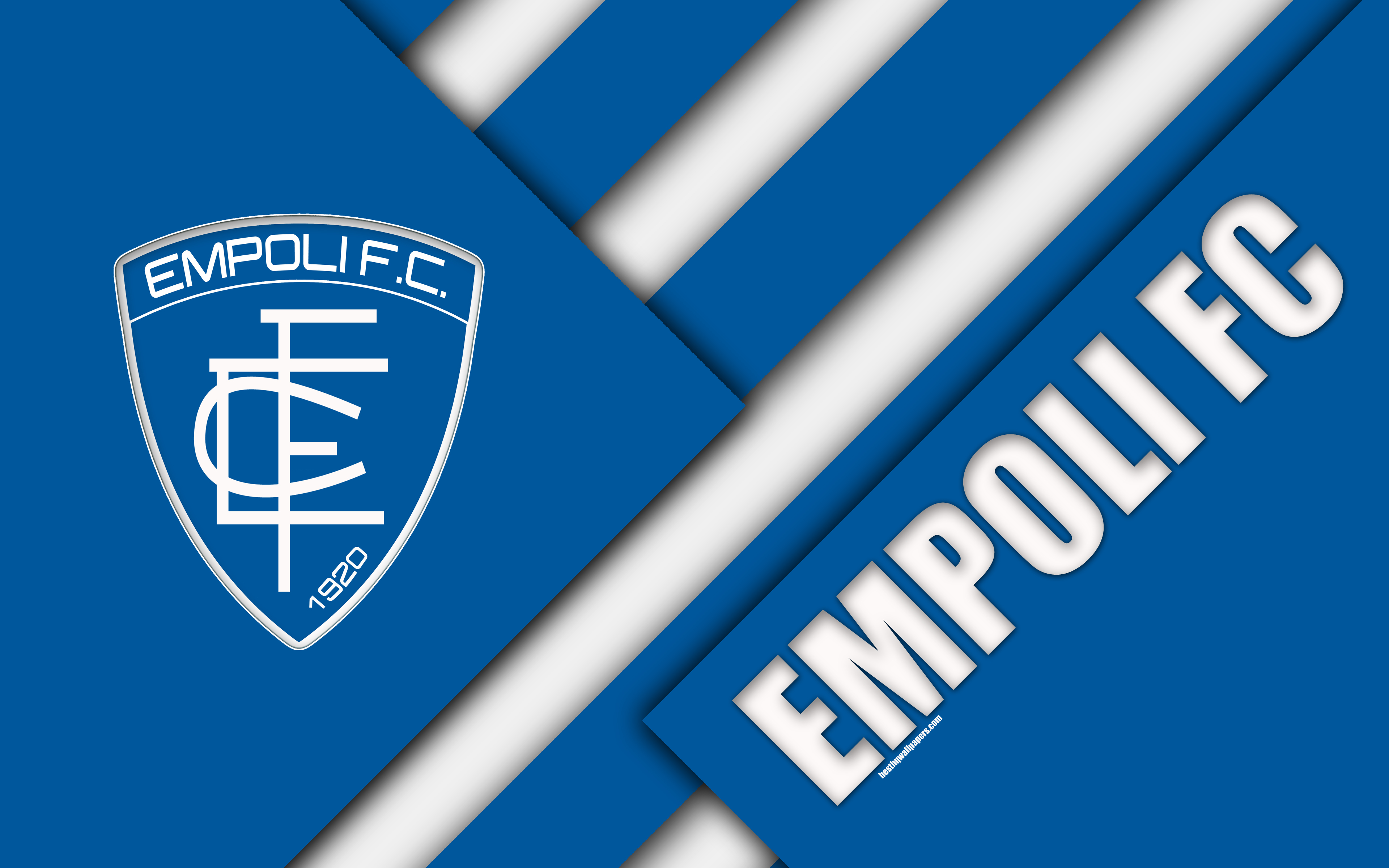 Download wallpapers Empoli FC, 4k, material design, logo, blue white
