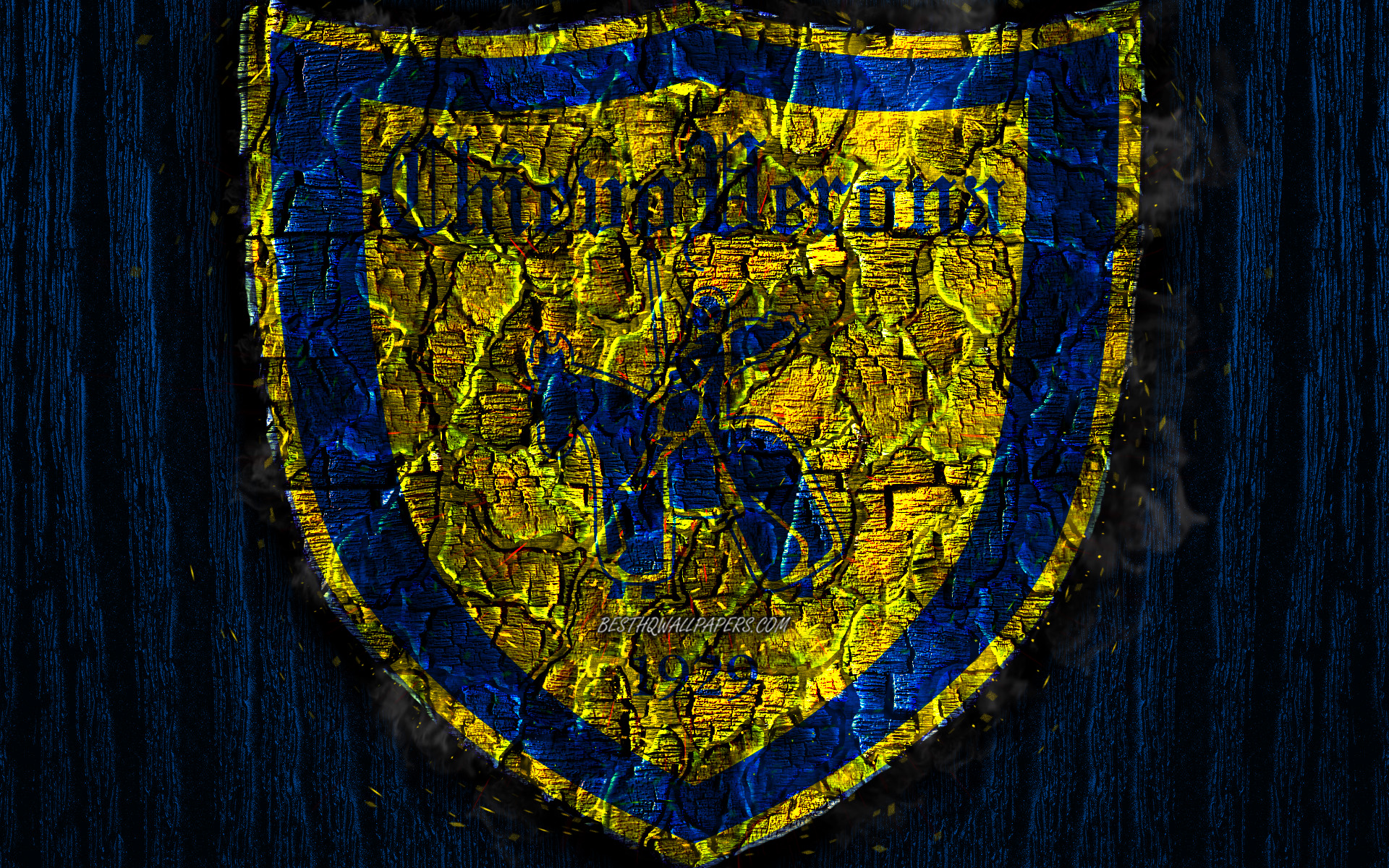 Download wallpapers Chievo FC, scorched logo, Serie A, blue wooden