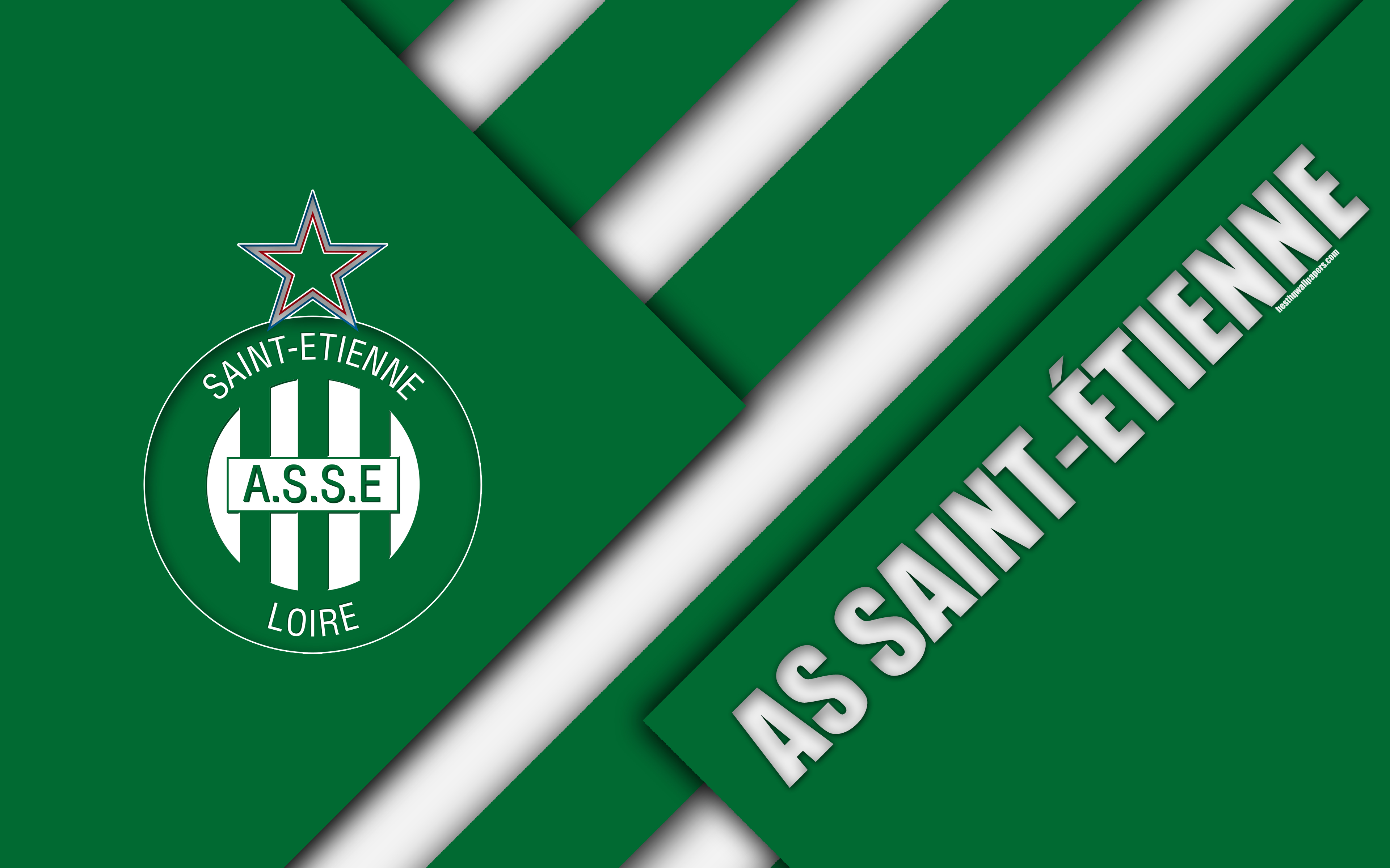 Download wallpapers AS Saint-Étienne, 4k, material design, logo ...