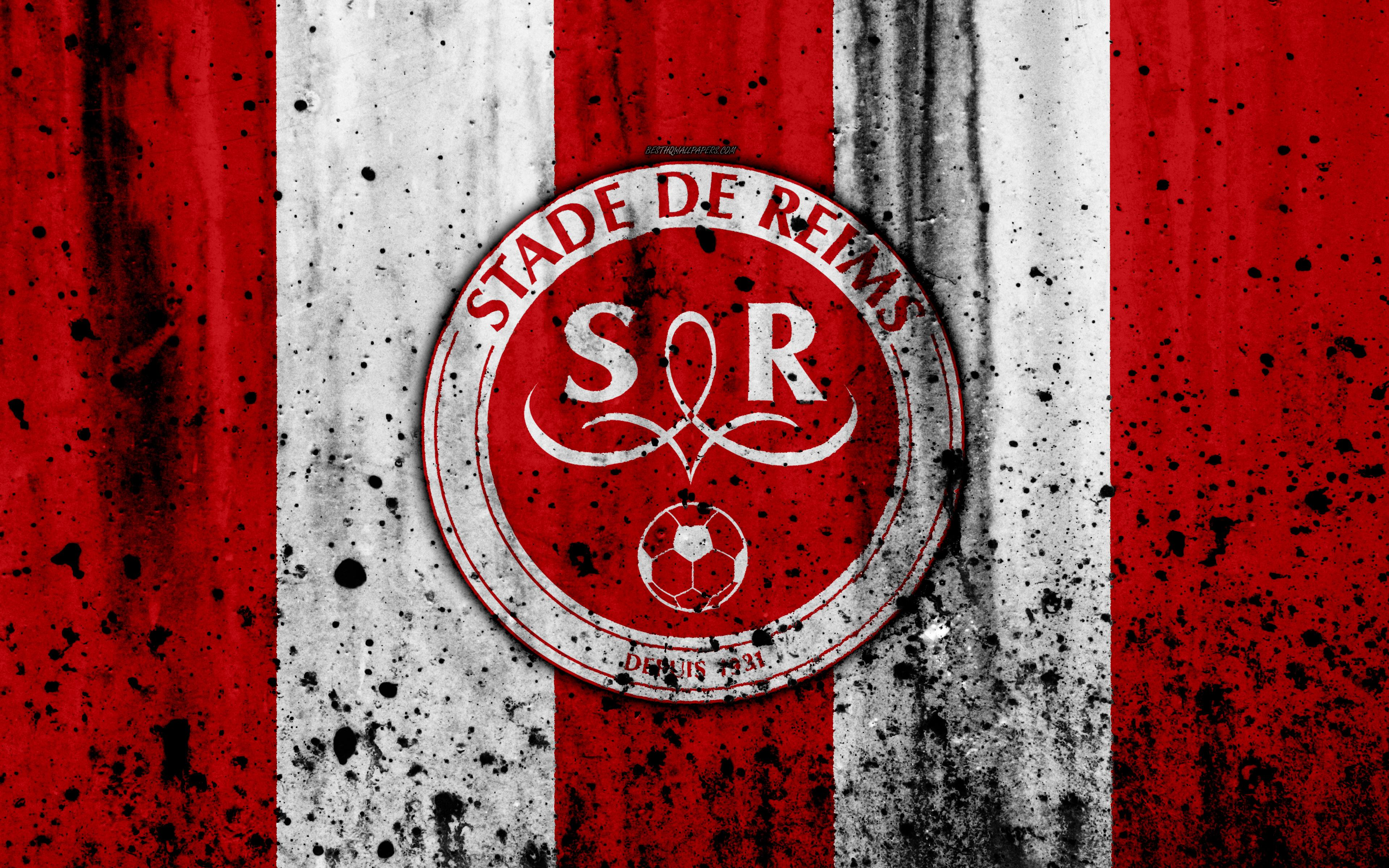 Download wallpapers FC Stade Reims, 4k, logo, Ligue 2, stone texture