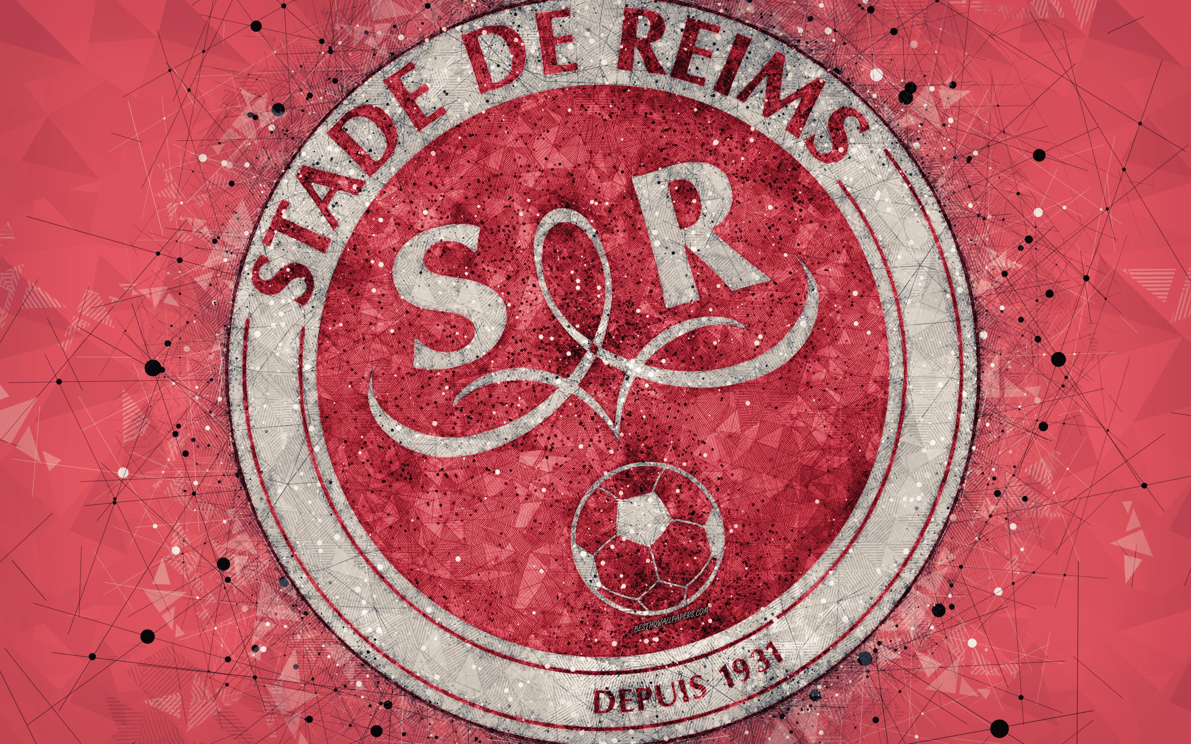 Download wallpapers Stade de Reims, 4k, logo, geometric art, French