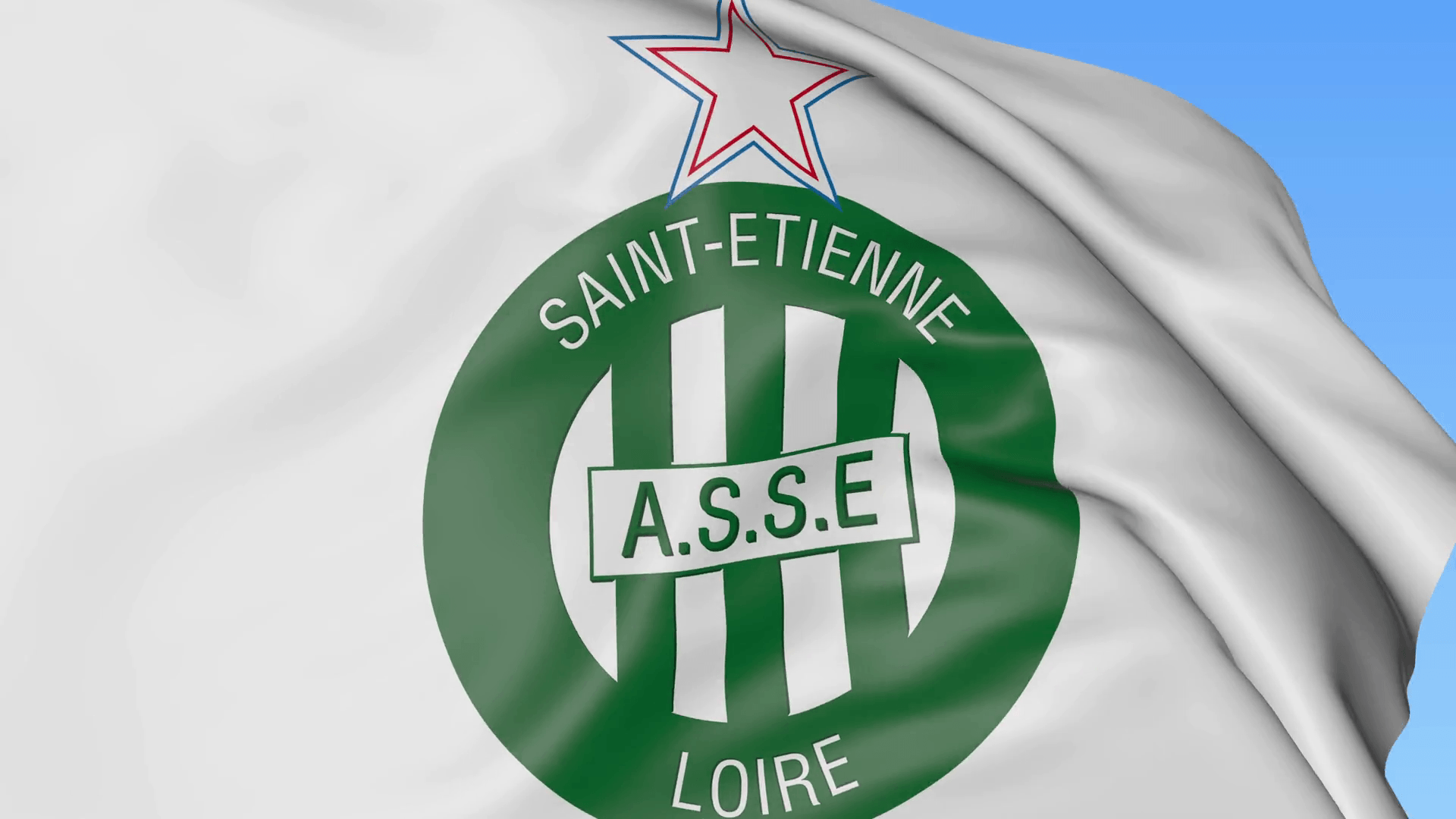 Close-up of waving flag with AS Saint Etienne football club logo ...