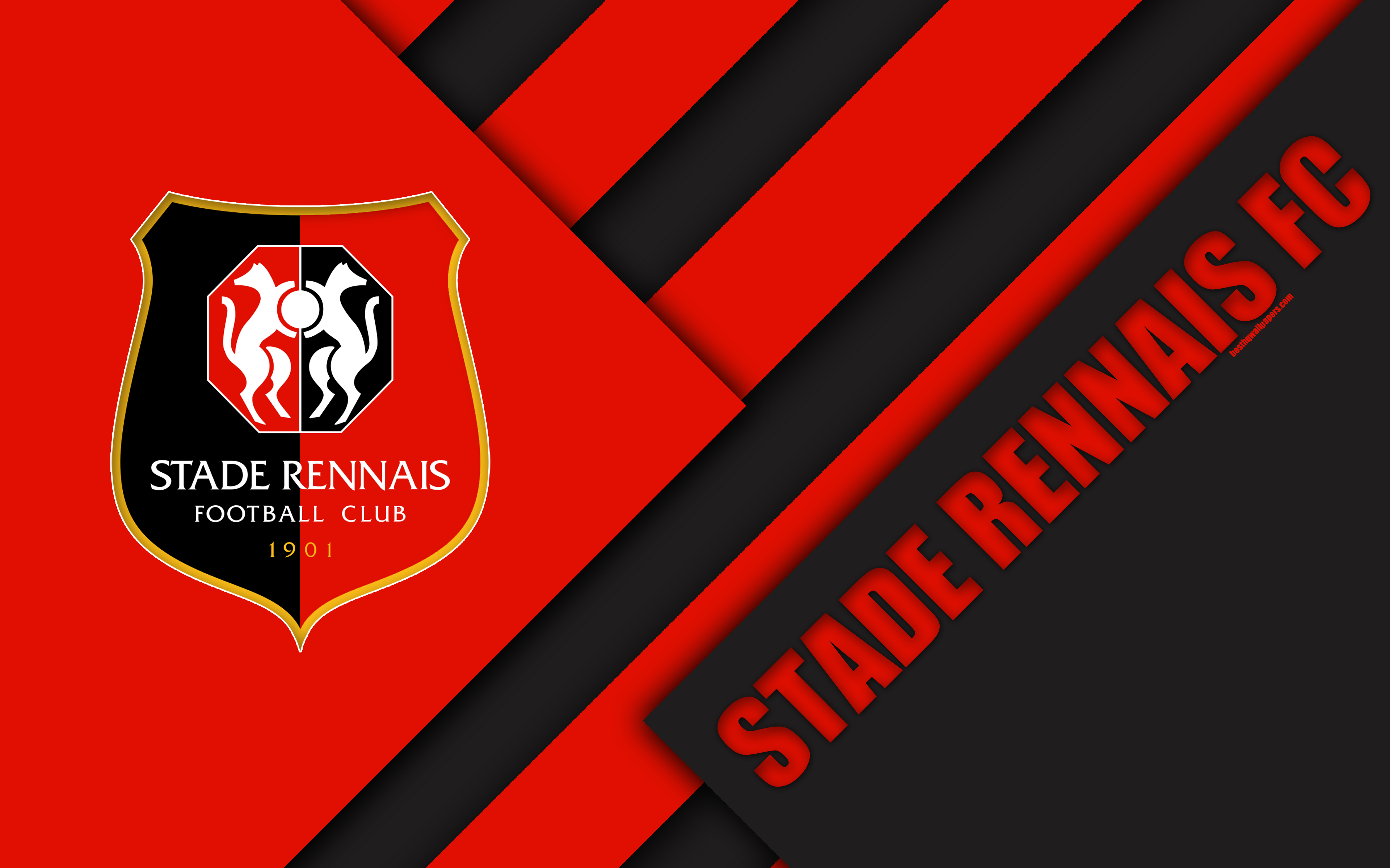 Download wallpapers Stade Rennais FC, 4k, material design, logo
