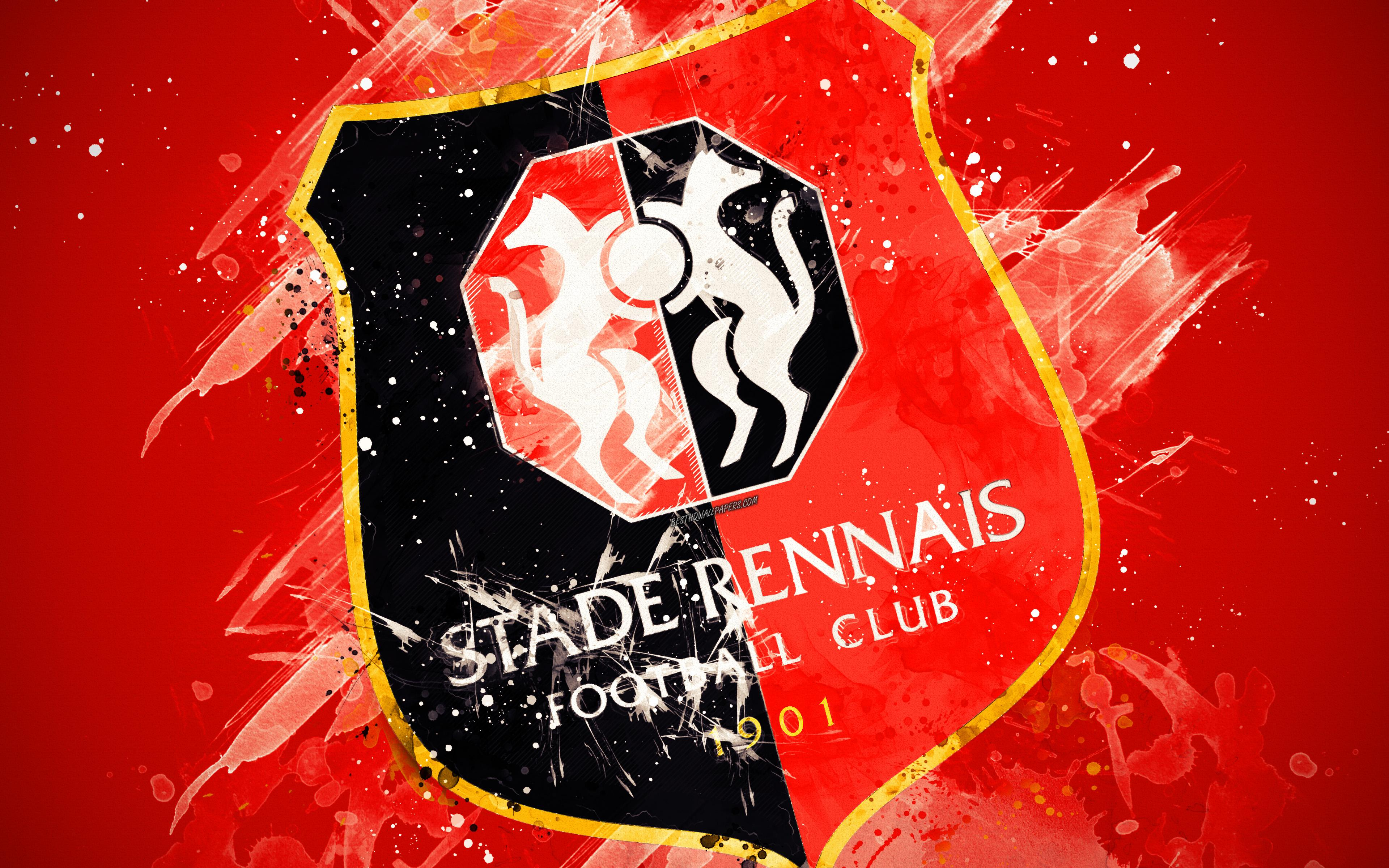 Download wallpapers Stade Rennais FC, 4k, paint art, creative