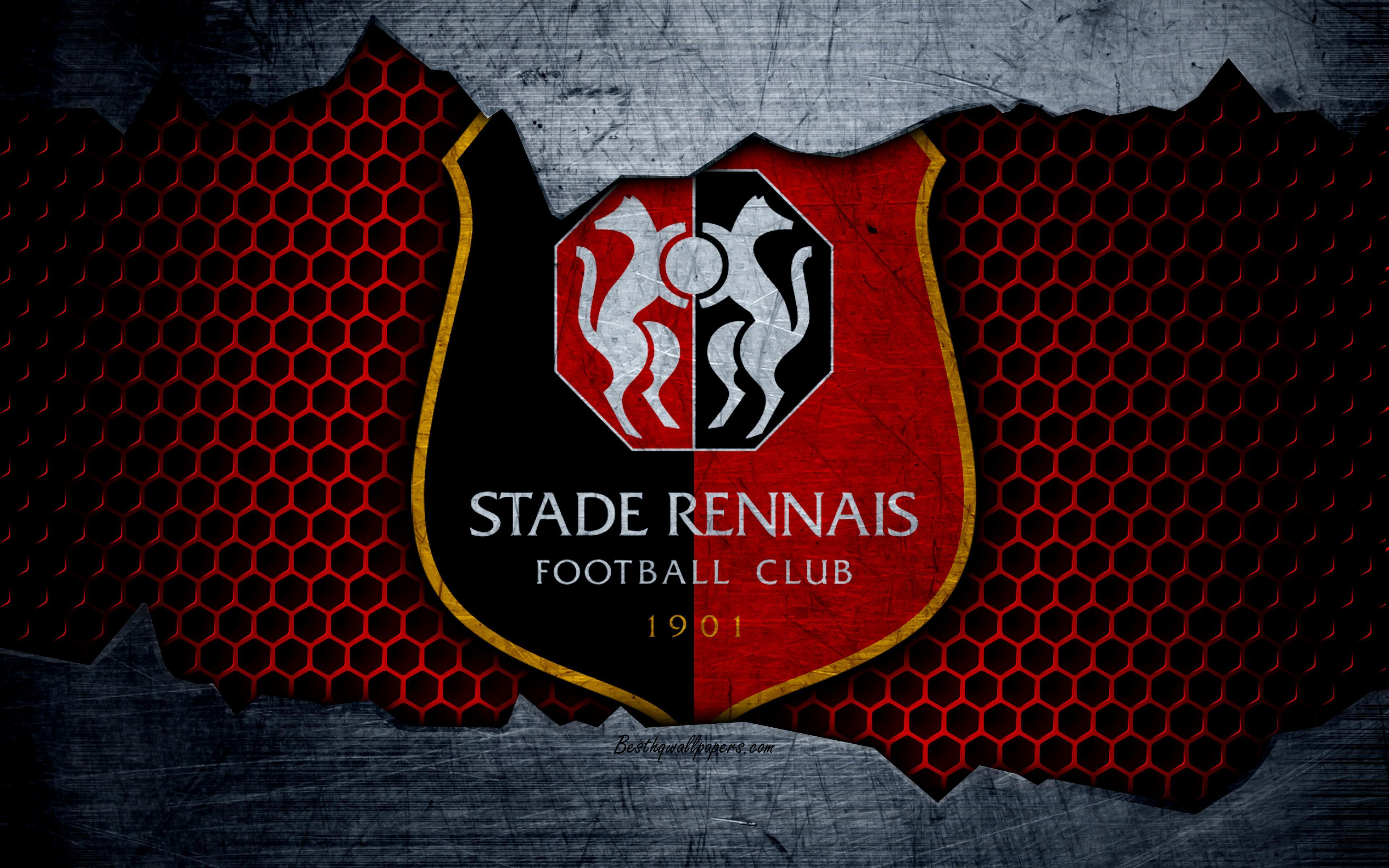 Download wallpapers Rennes, 4k, Liga 1, logo, grunge, soccer